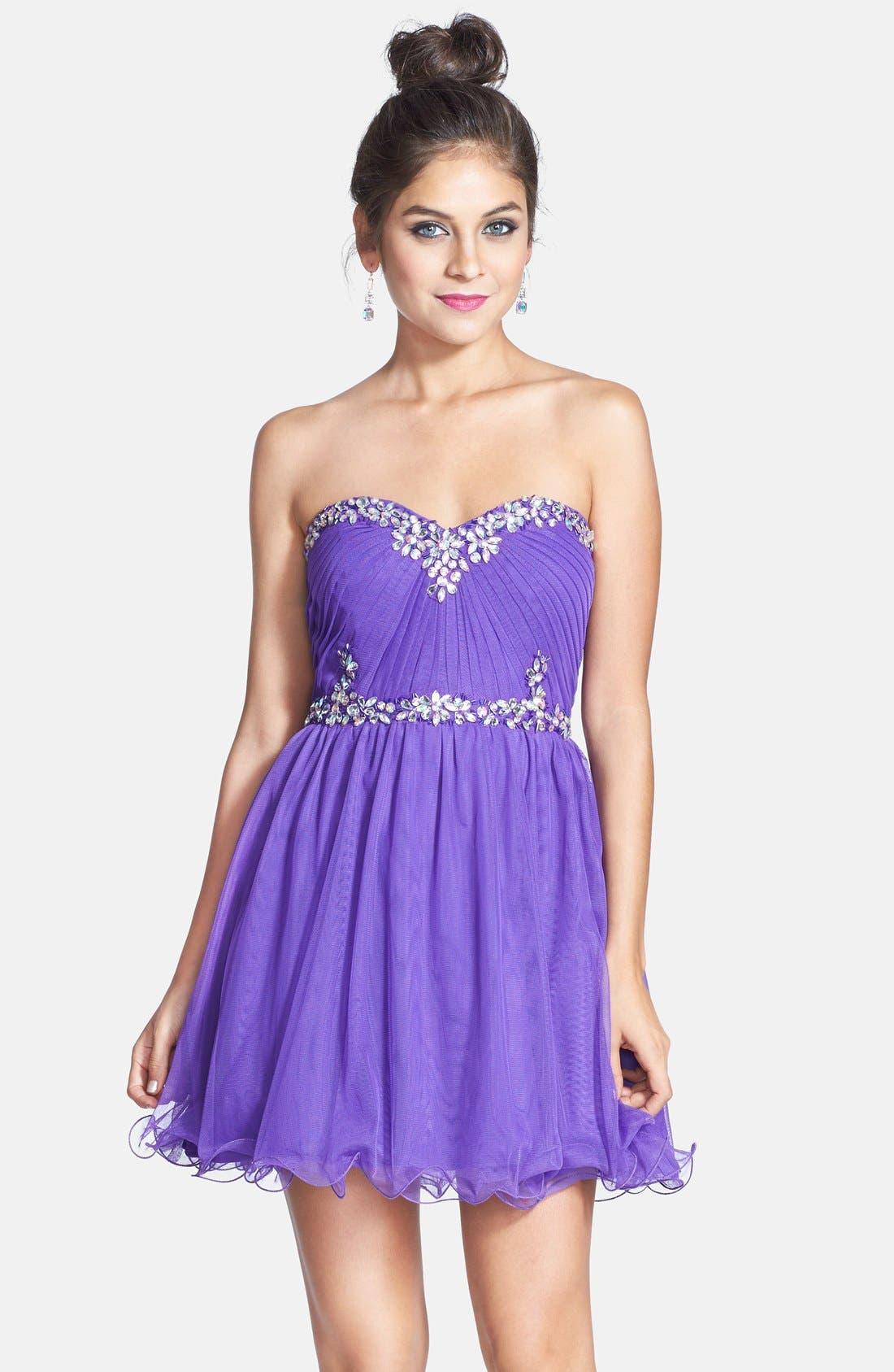 Embellished Party Dress,                             Alternate thumbnail 2, color,                             500