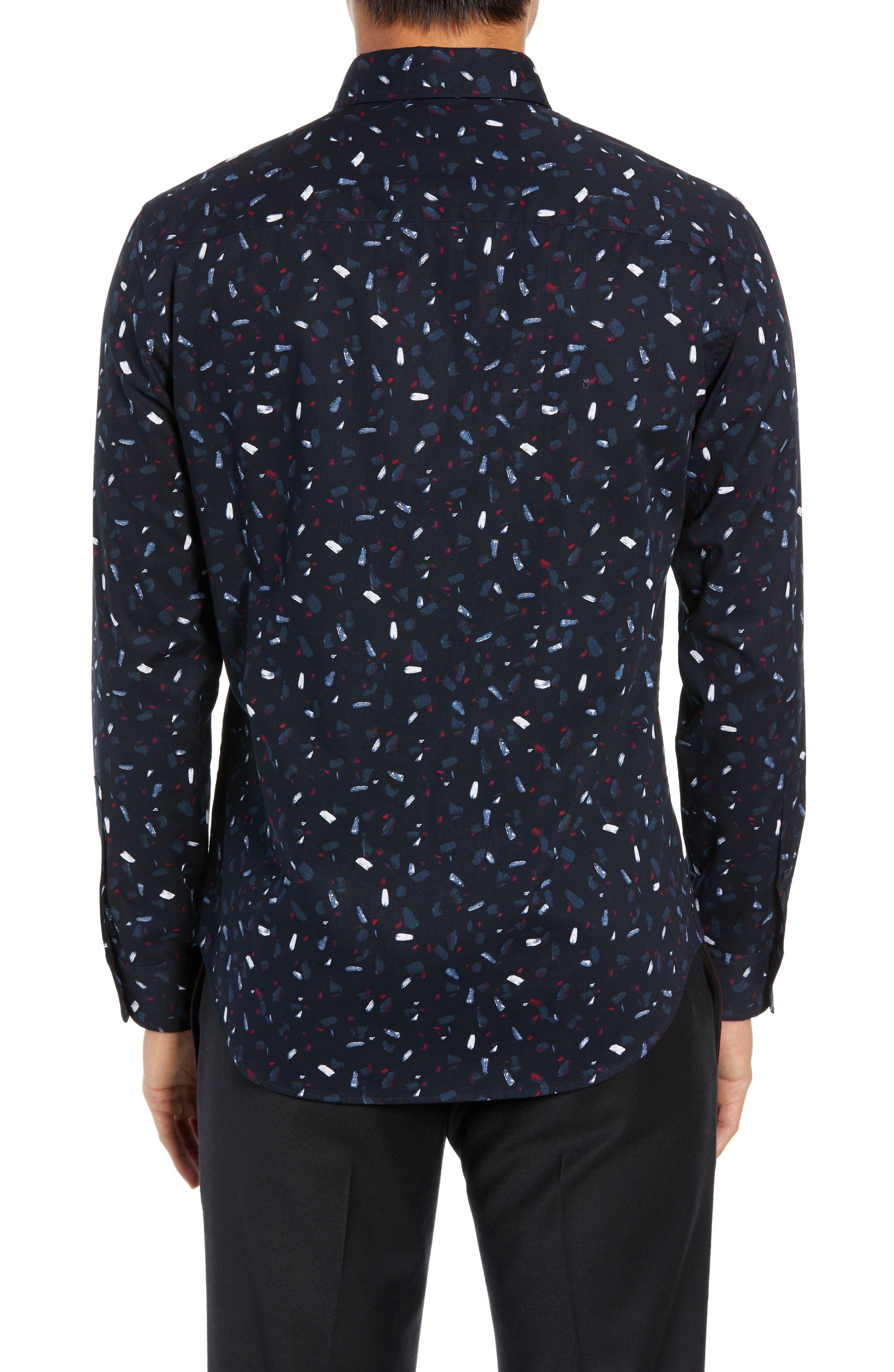 Trim Fit Print Sport Shirt,                             Alternate thumbnail 3, color,                             BLACK MULTI