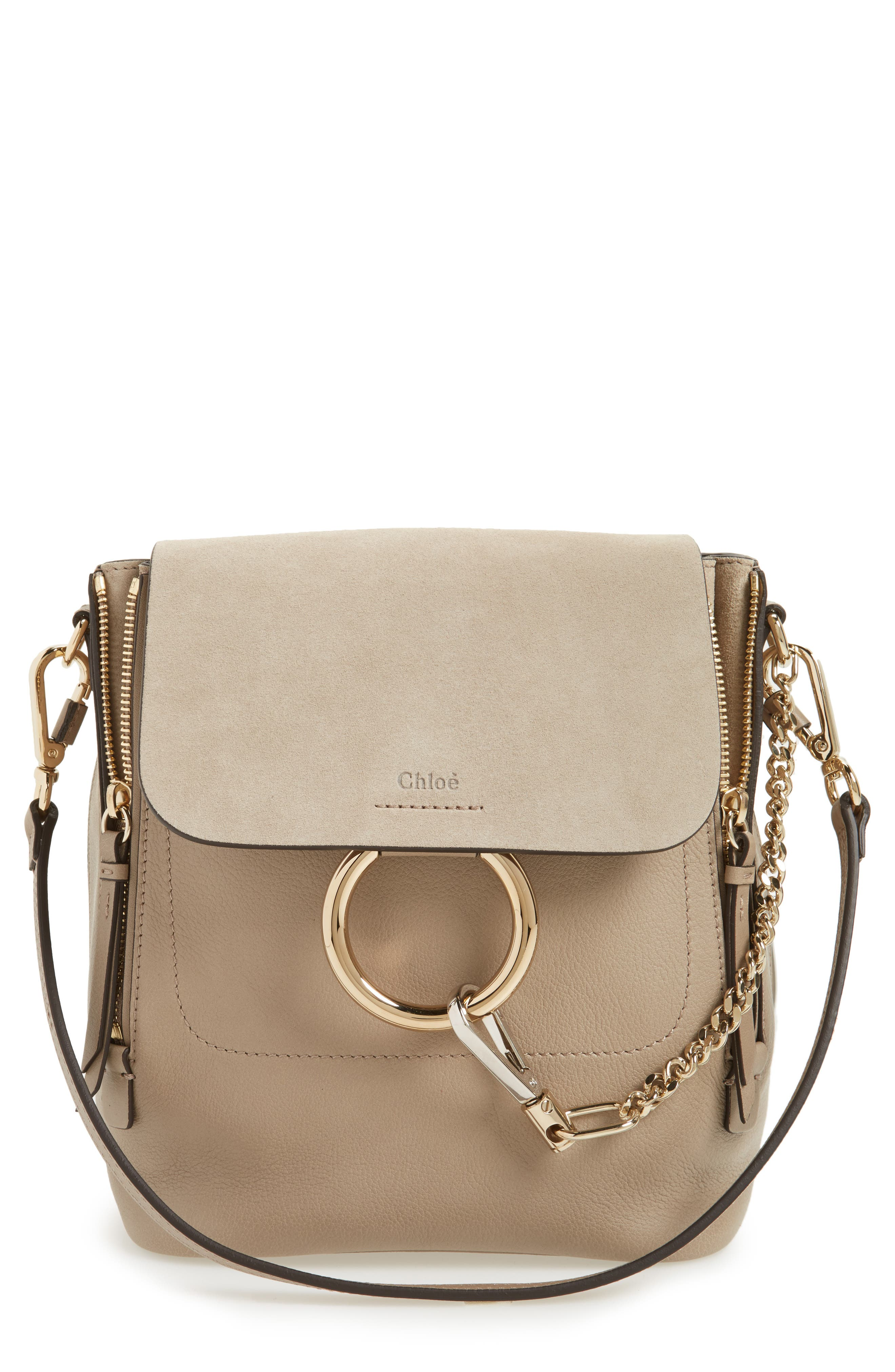 Small Faye Suede & Leather Backpack,                         Main,                         color, 031