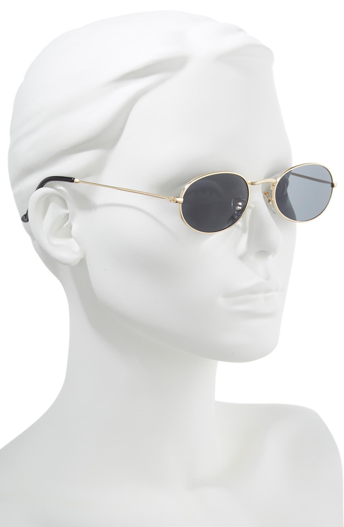 50mm Round Sunglasses,                             Alternate thumbnail 2, color,                             GOLD/ BLACK
