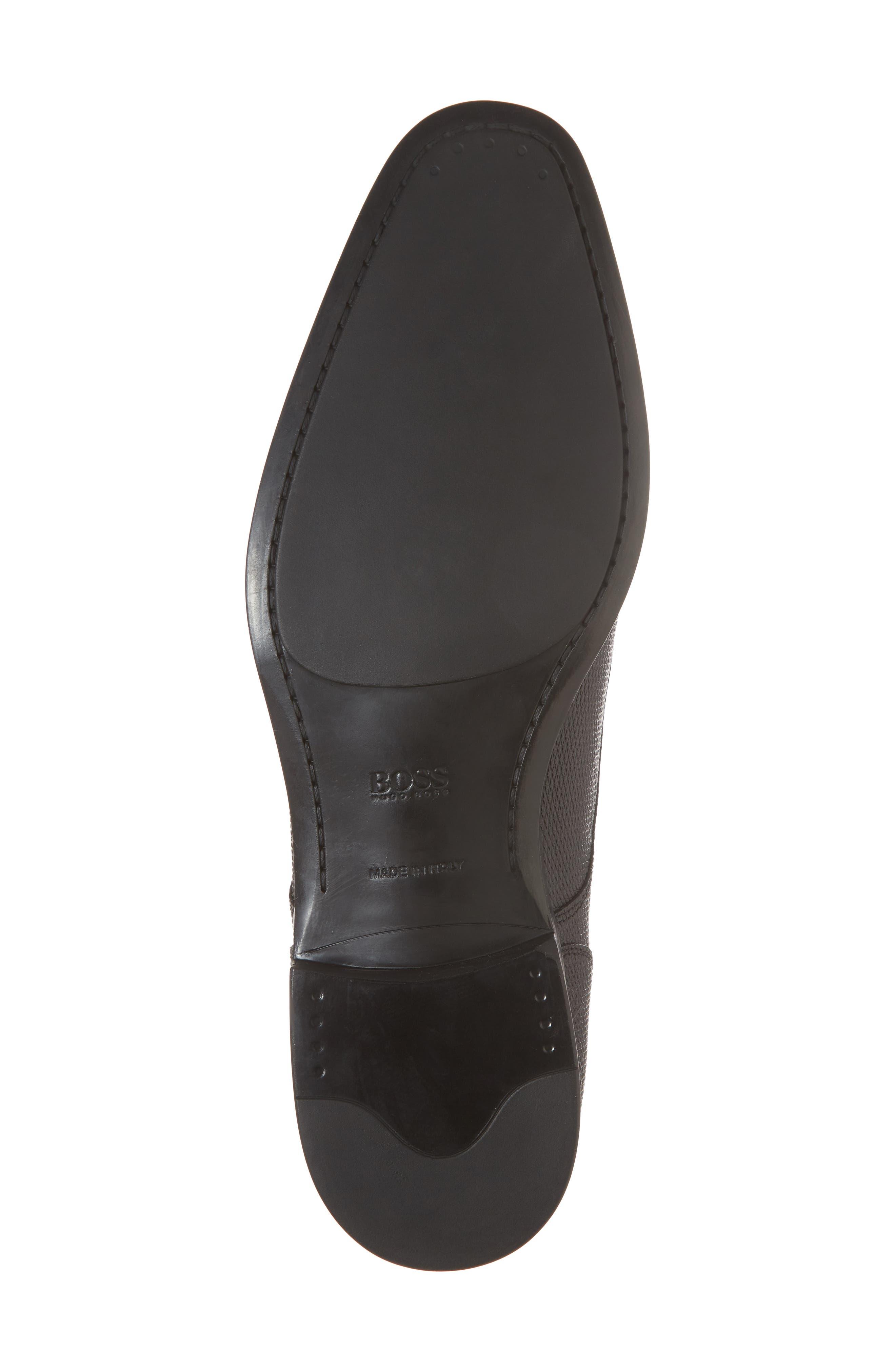 Hugo Boss Portland Embossed Plain Toe Derby,                             Alternate thumbnail 6, color,                             BLACK LEATHER