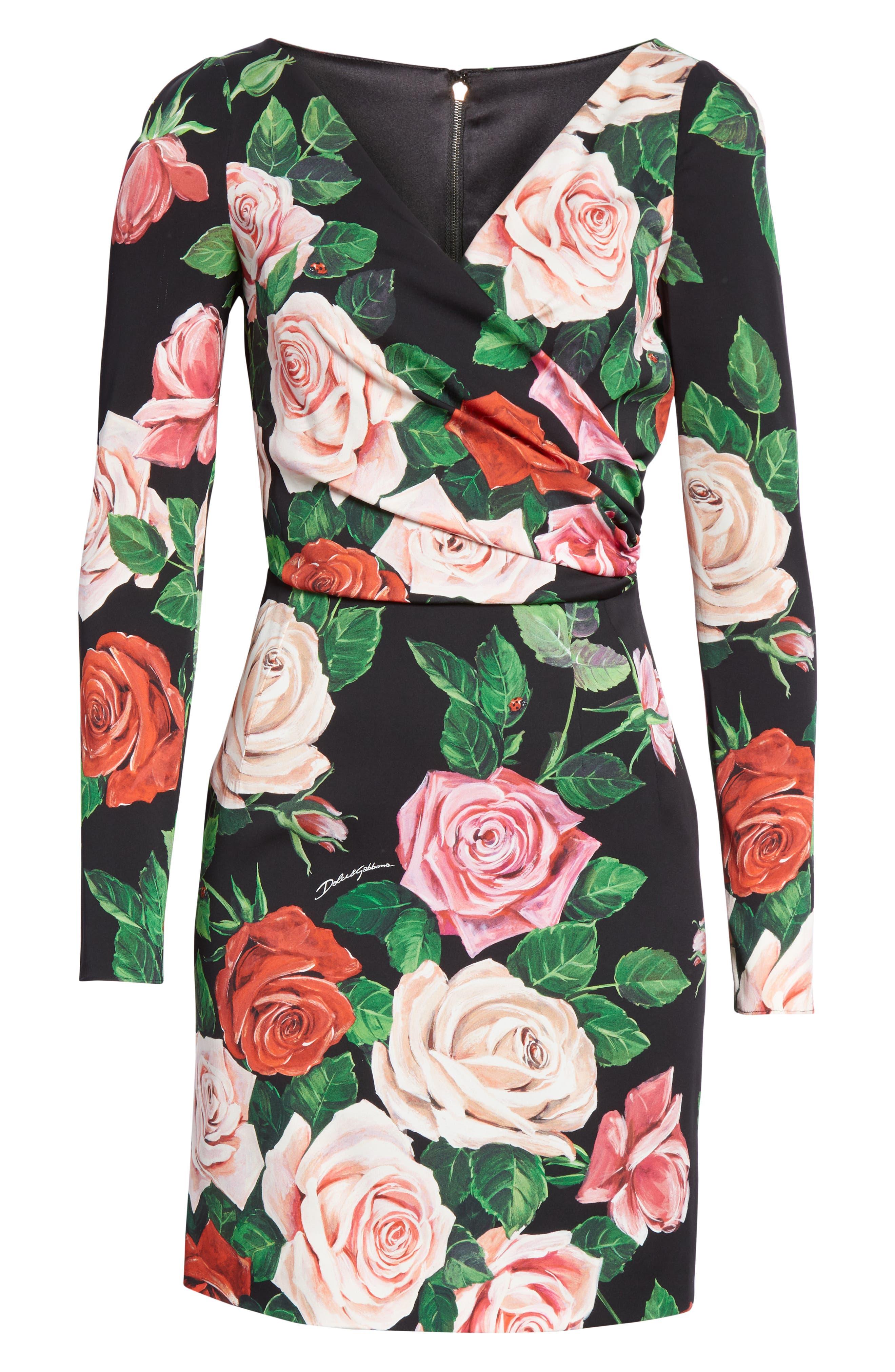 Rose Print Stretch Silk Dress,                             Alternate thumbnail 7, color,                             BLACK ROSE