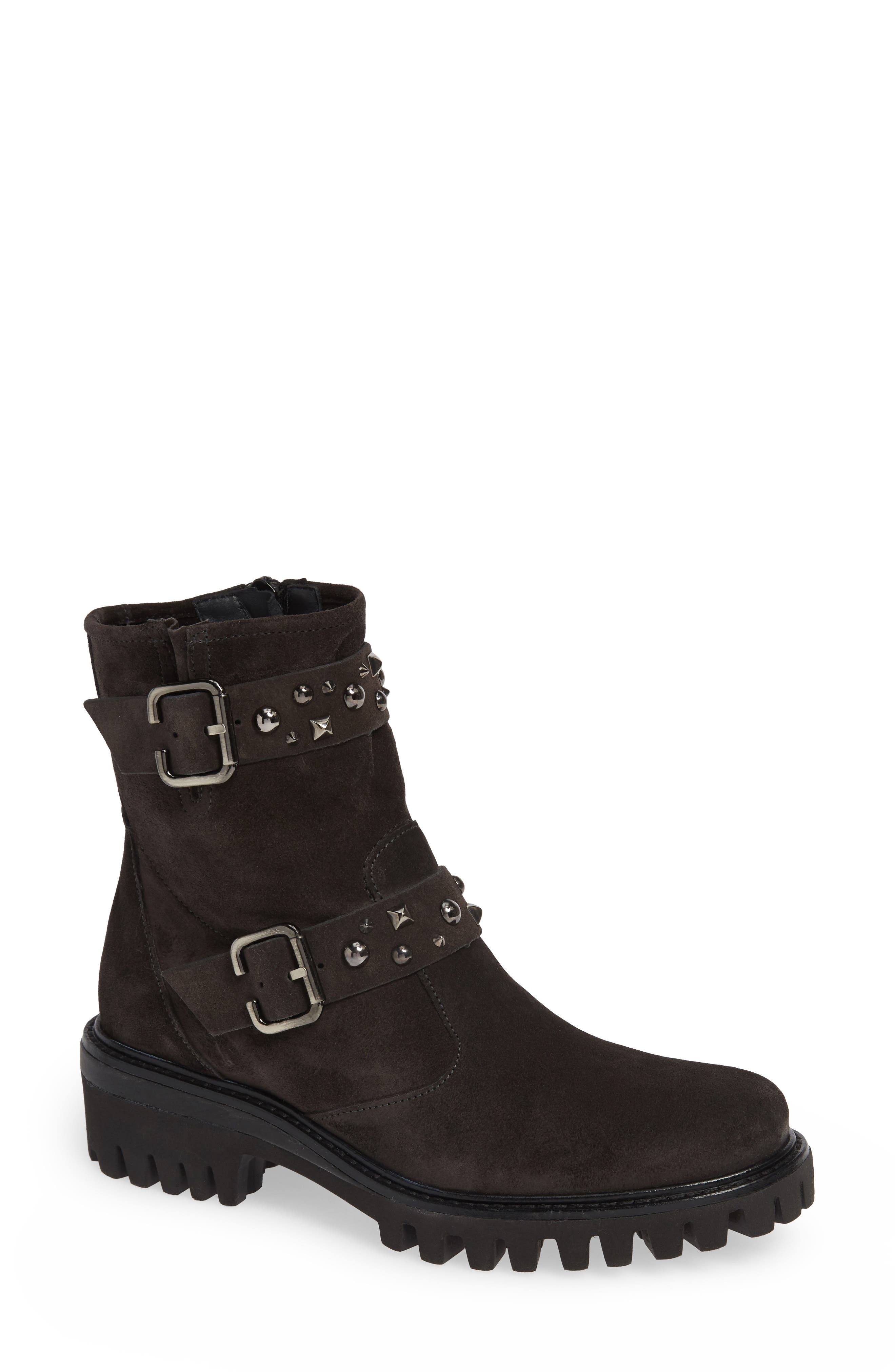 PAUL GREEN Veronia Studded Buckle Boot in Anthrazite Suede