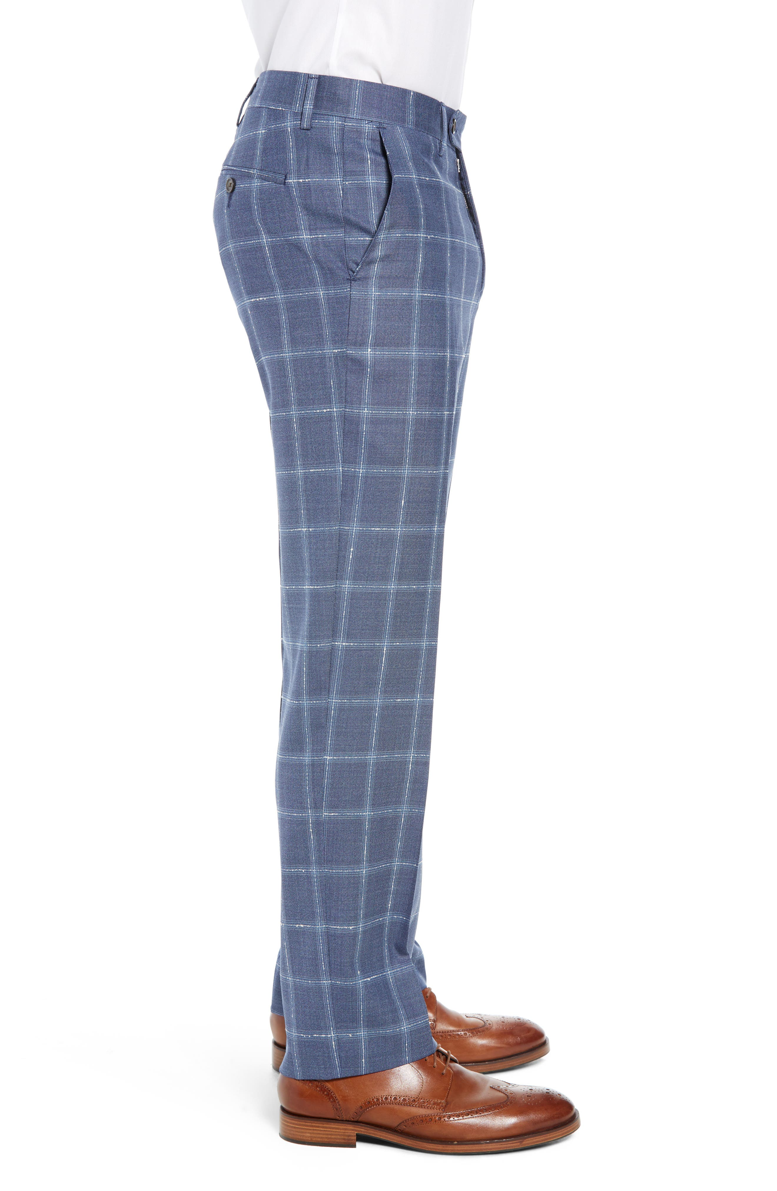 Manufacturing Flat Front Plaid Wool Trousers,                             Alternate thumbnail 3, color,                             NAVY