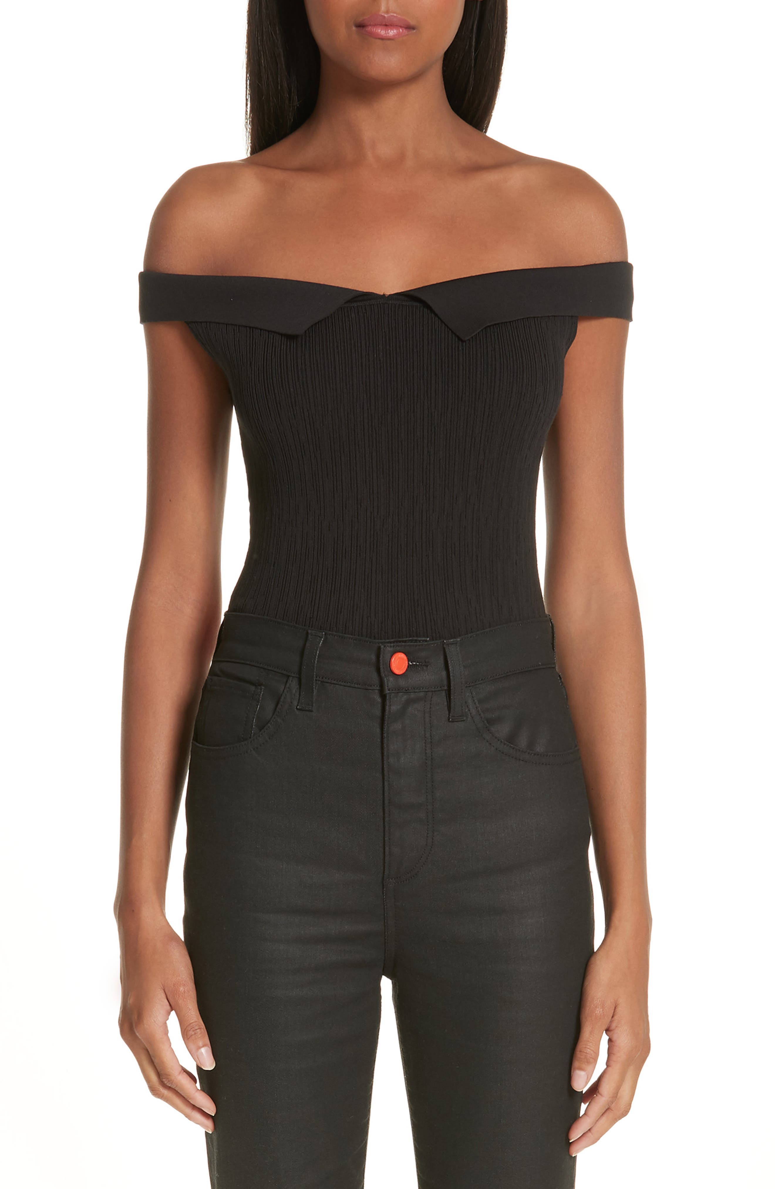 x Paramount Grease Ribbed Off the Shoulder Top,                         Main,                         color, DANNY BLACK