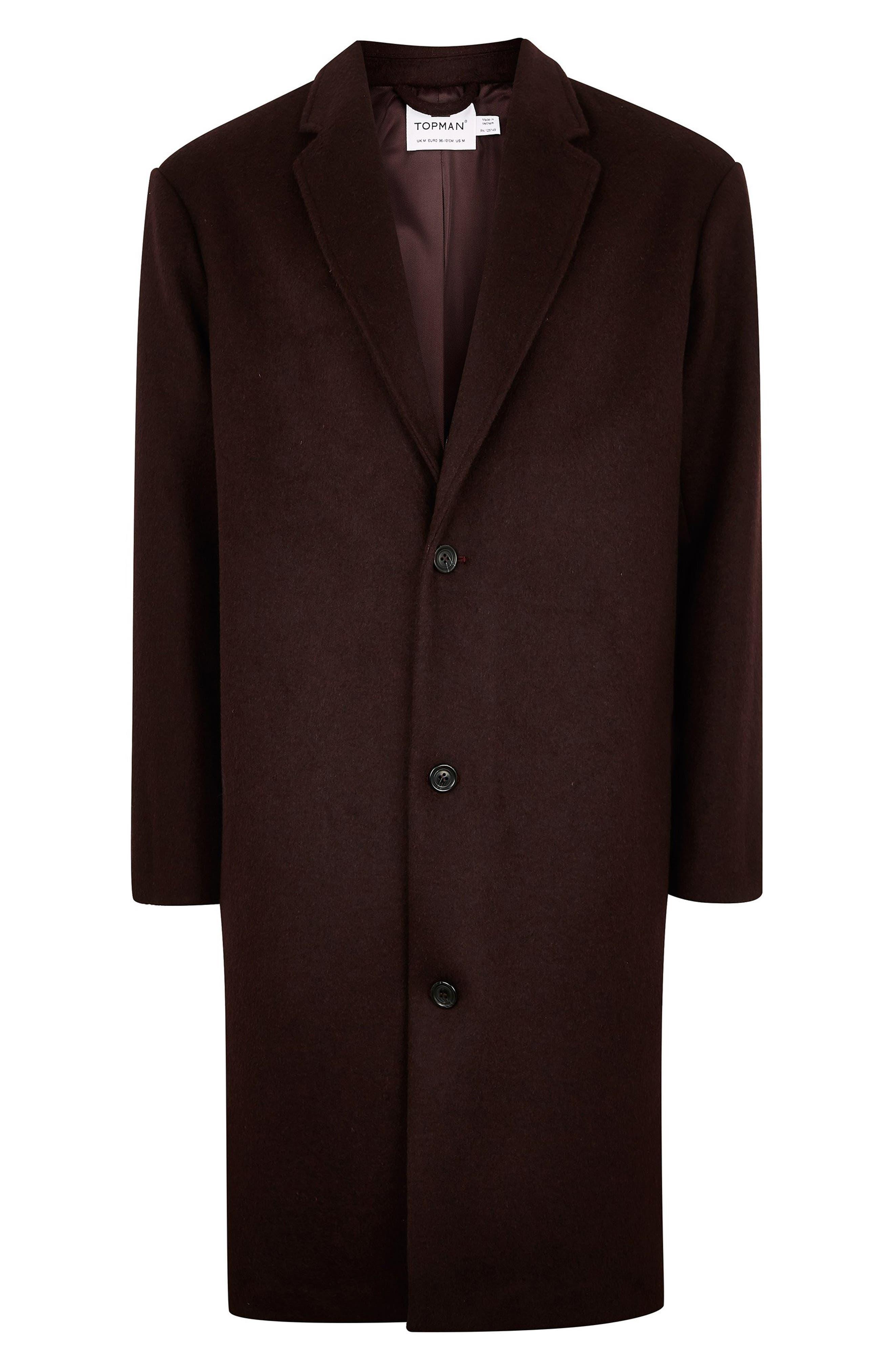 Hayden Oversize Overcoat,                             Alternate thumbnail 4, color,                             BURGUNDY