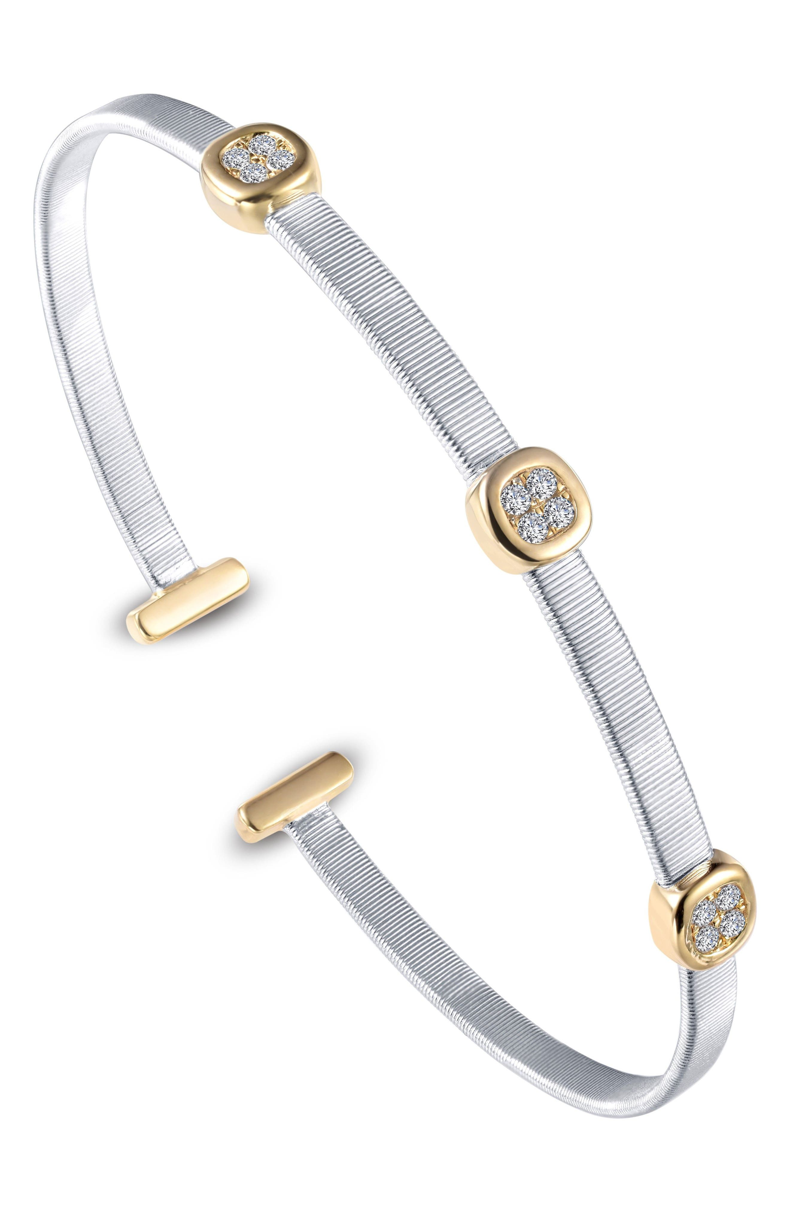 Simulated Diamond Station Cuff,                         Main,                         color, TWO TONE/ CLEAR