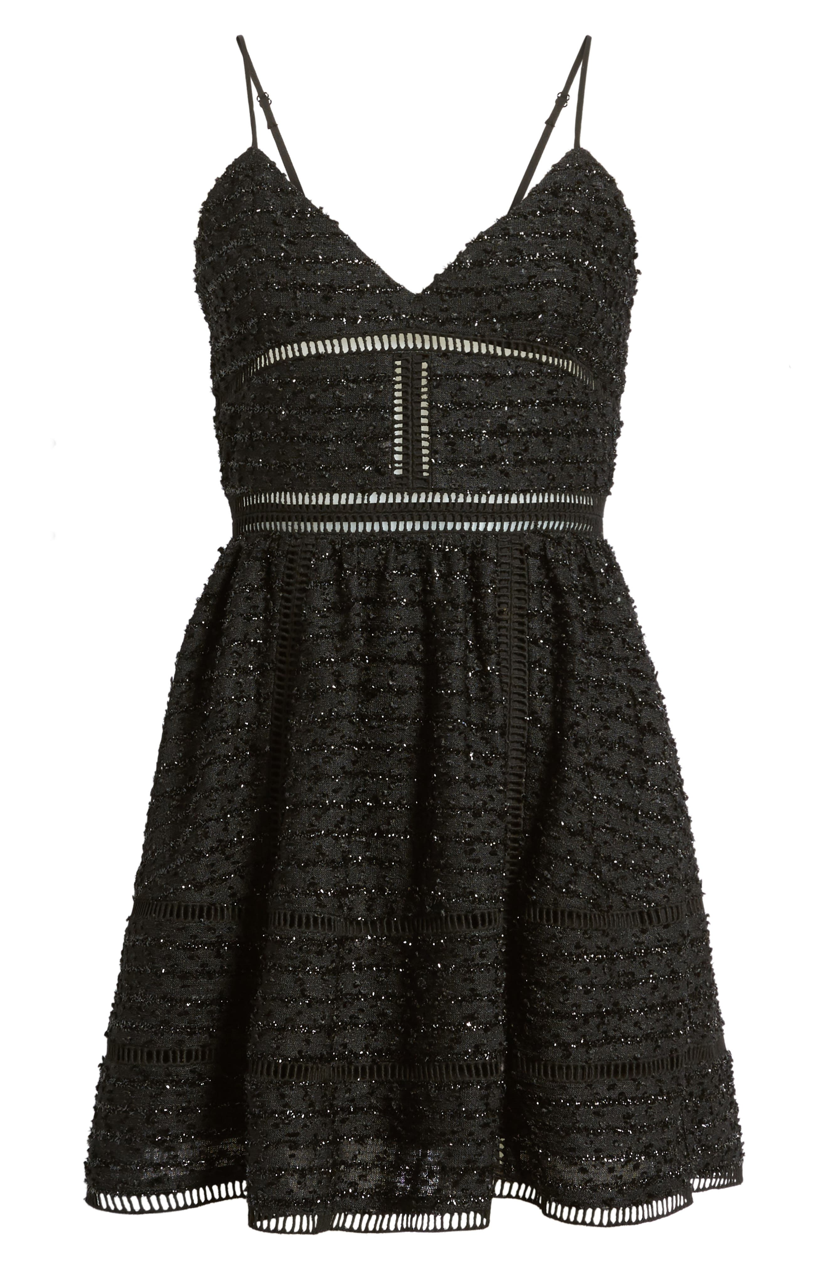 Miley Beaded Fit & Flare Dress,                             Alternate thumbnail 6, color,                             001