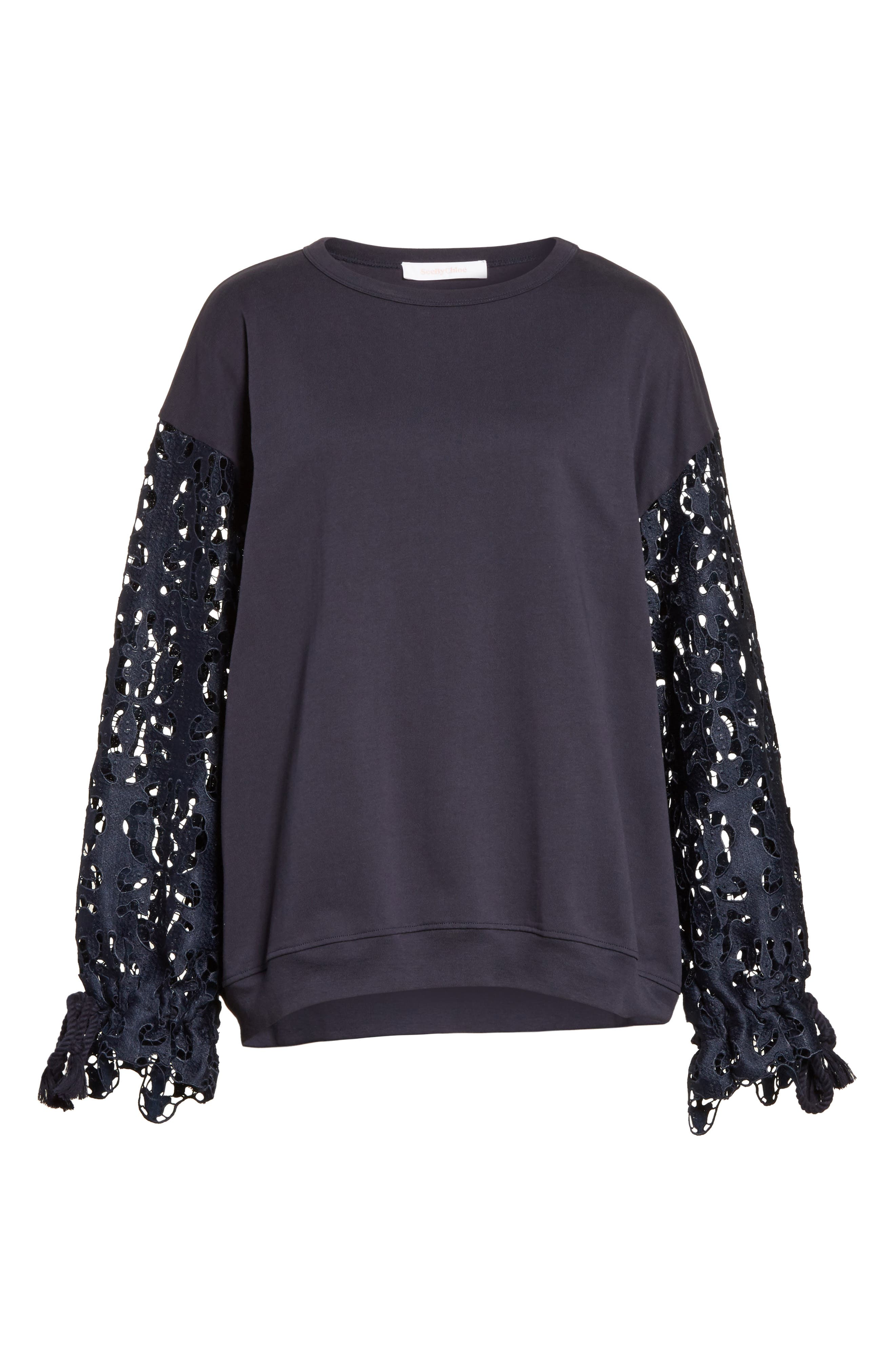 Lace Sleeve Jersey Top,                             Alternate thumbnail 6, color,