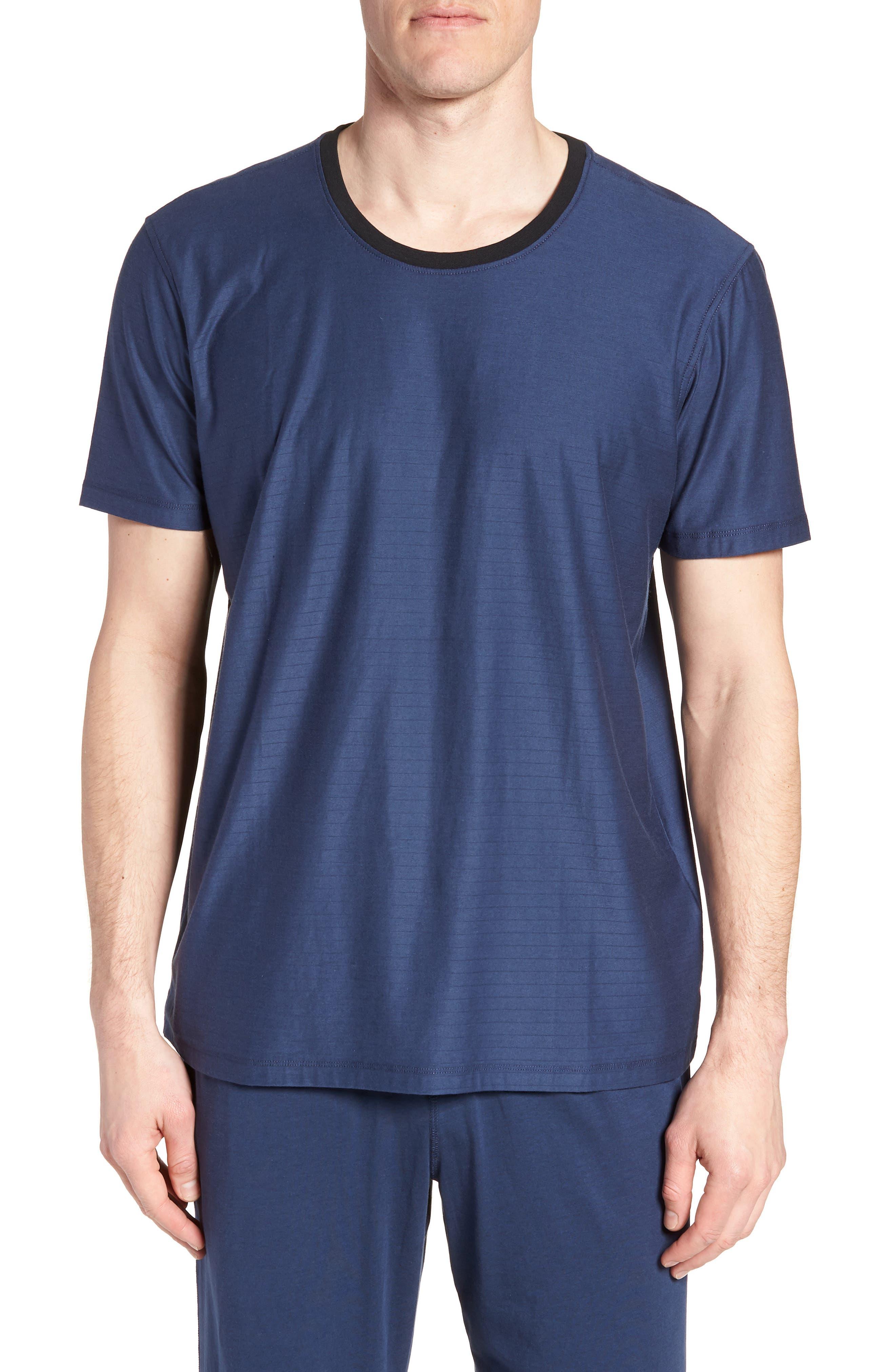 Pima Cotton & Modal Crewneck T-Shirt,                         Main,                         color, NAVY