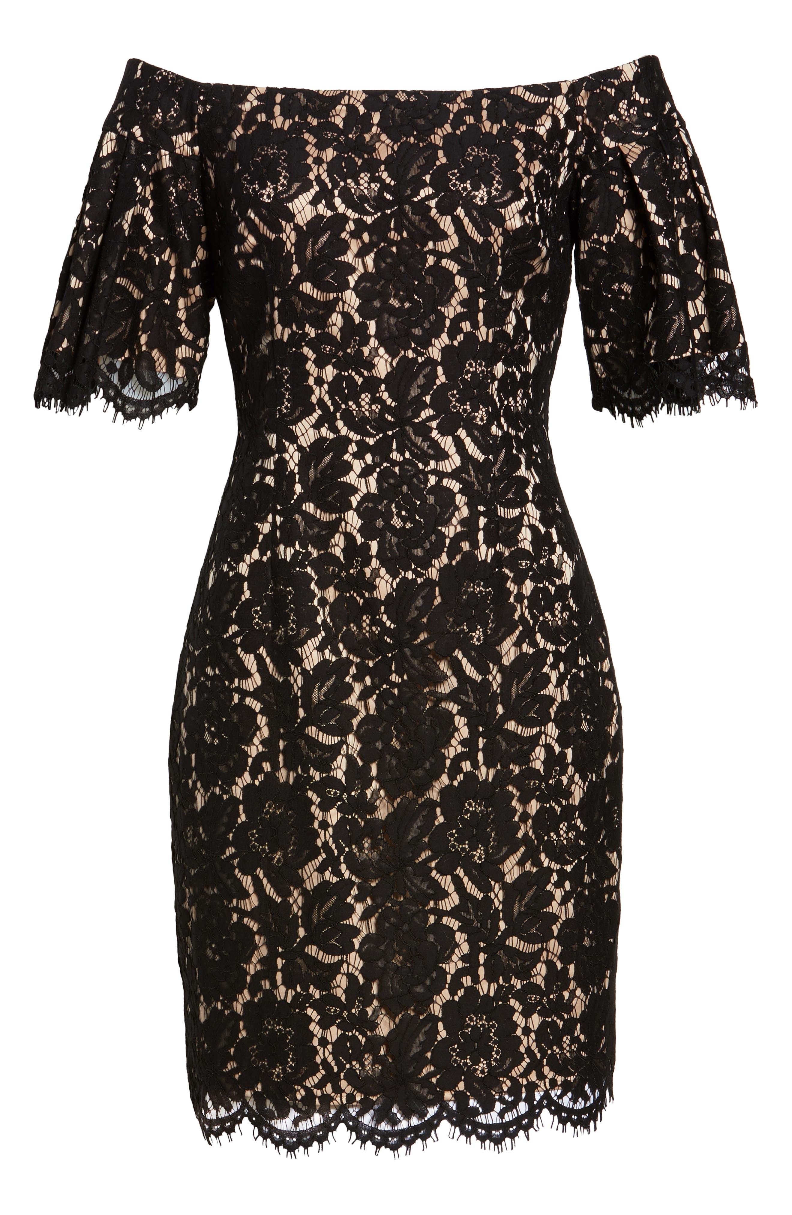 Flounce Sleeve Off the Shoulder Lace Sheath Dress,                             Alternate thumbnail 6, color,                             001