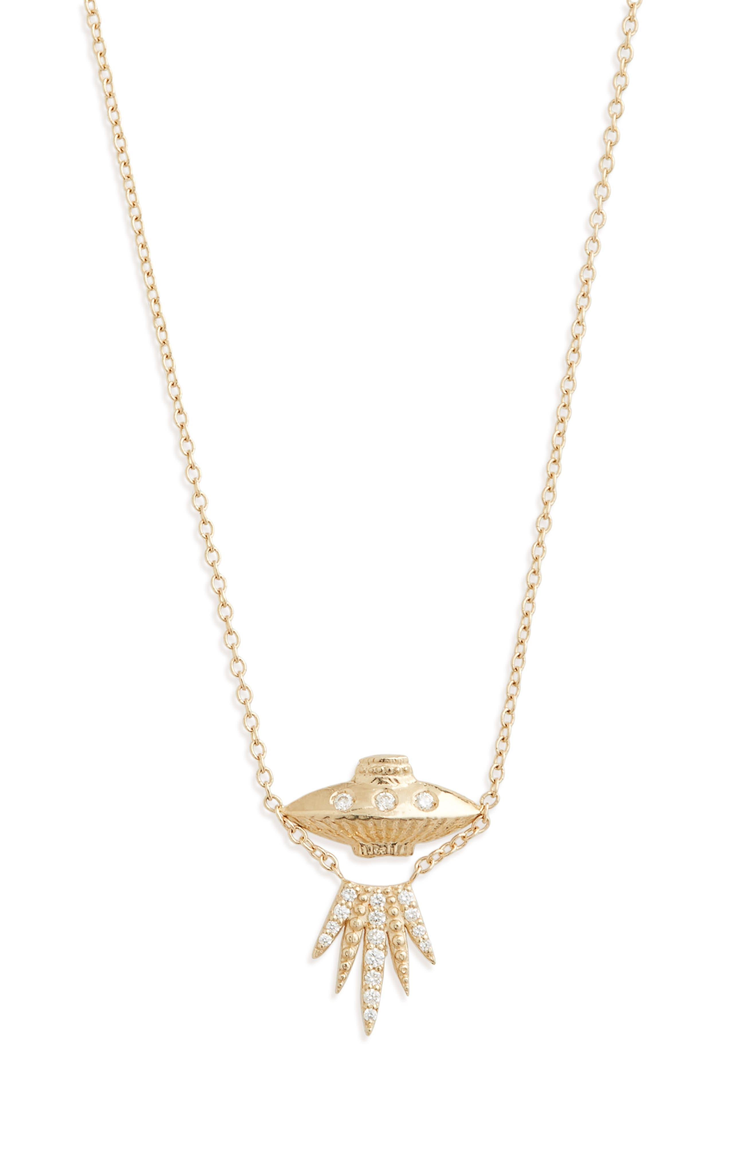 Tender Abduction UFO Diamond Necklace, Main, color, GOLD