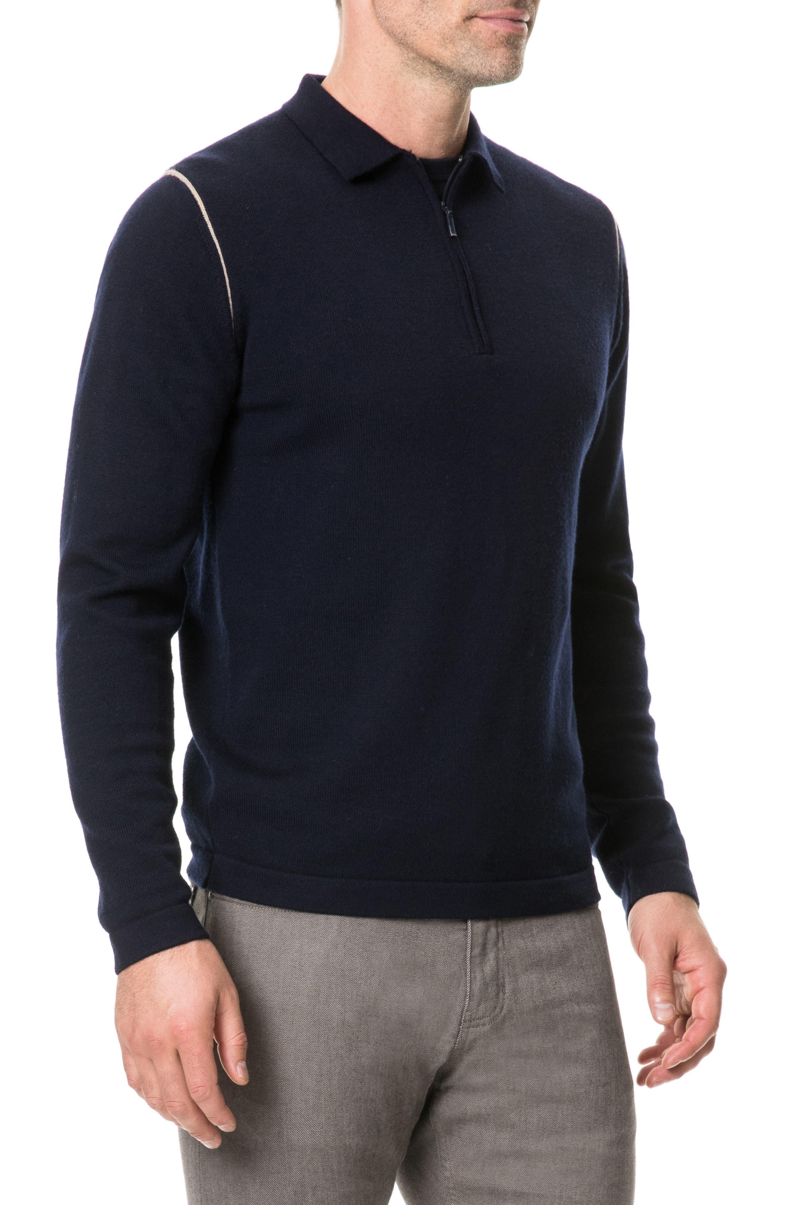 Revill Reserve Merino Wool Zip Polo,                             Alternate thumbnail 3, color,                             MARINE