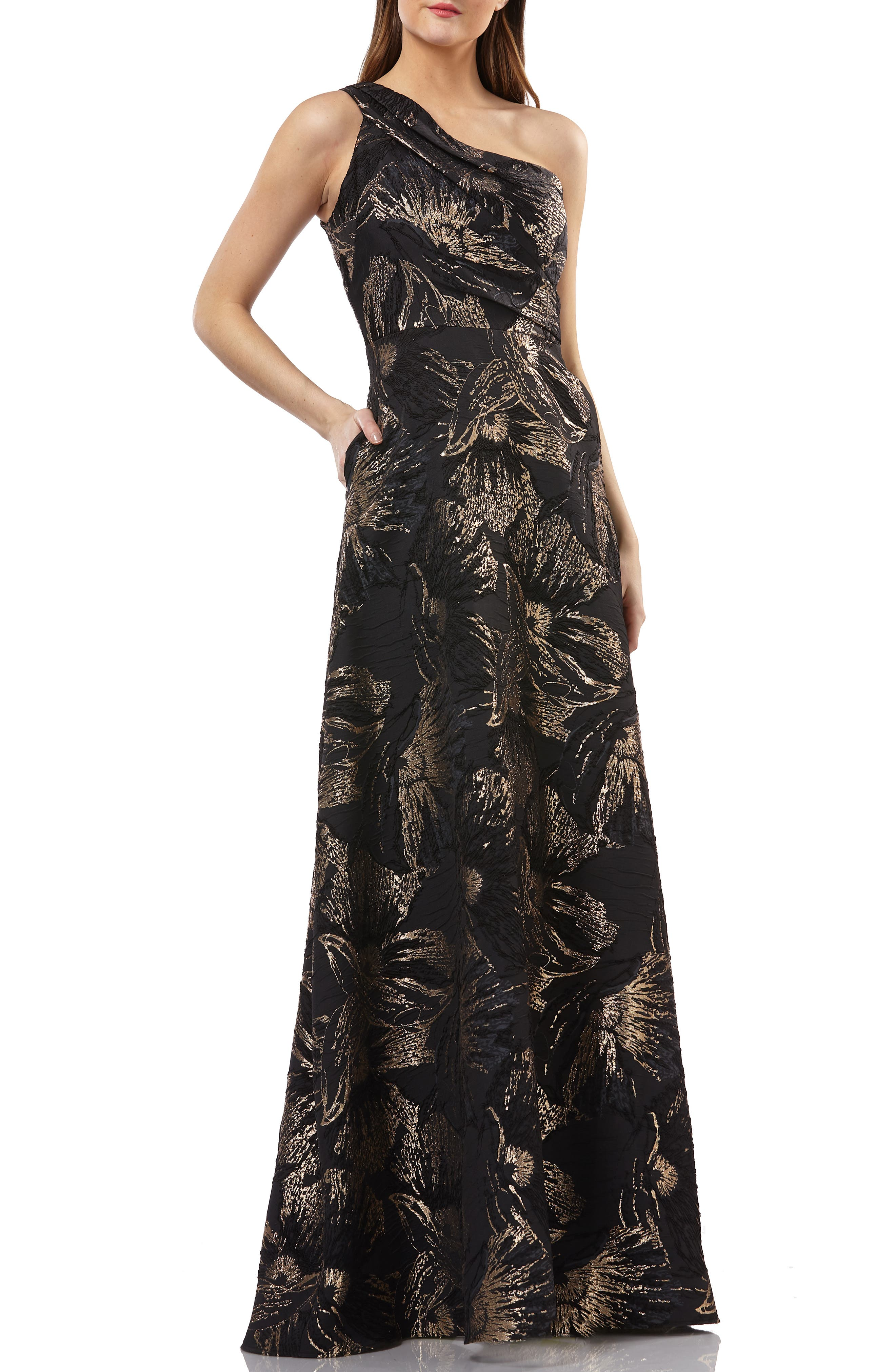 One-Shoulder Pleated Brocade Ballgown,                             Main thumbnail 1, color,                             BLACK/ GOLD