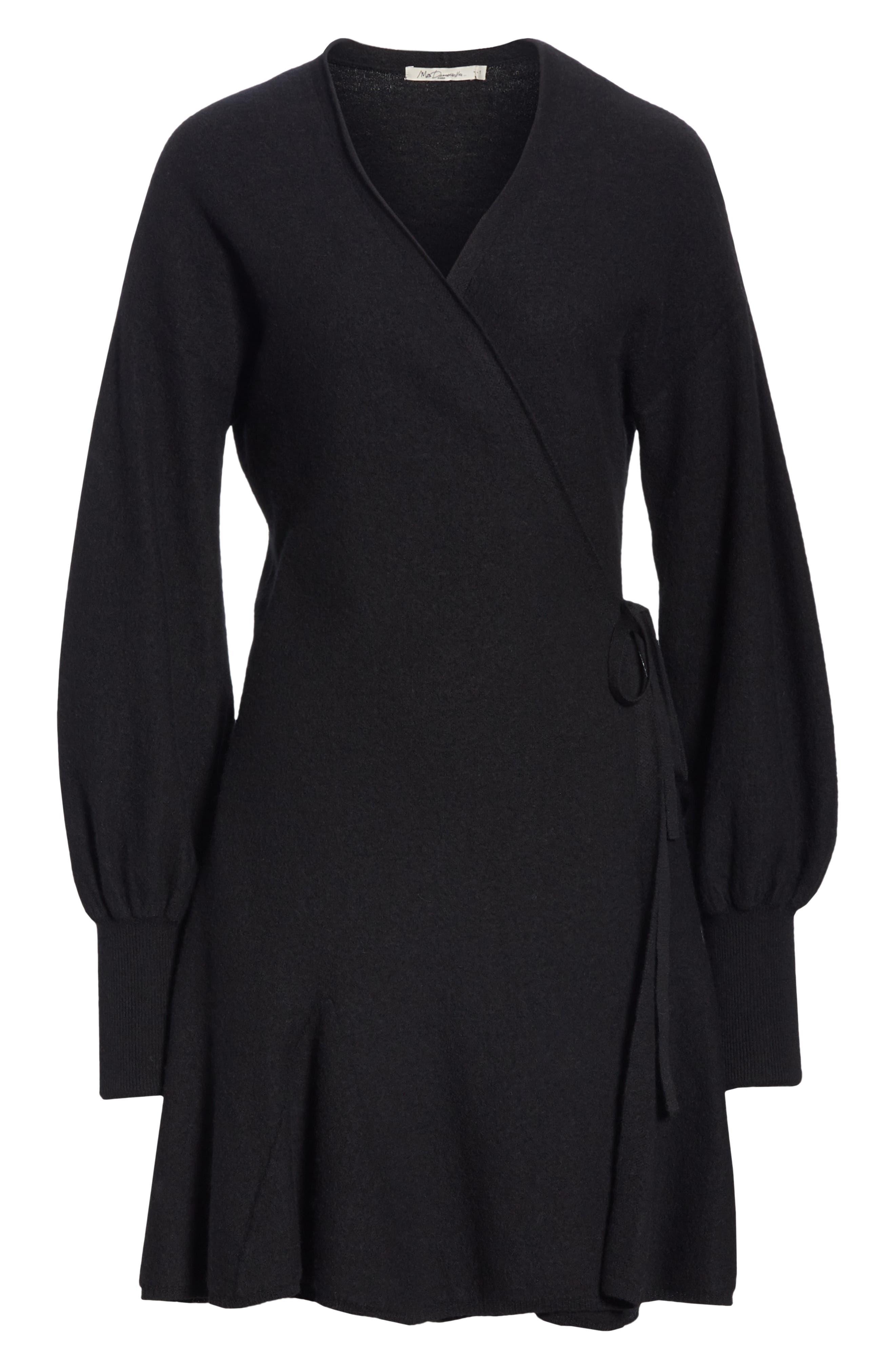 Sevilla Wool Felt Dress,                             Alternate thumbnail 7, color,                             BLACK