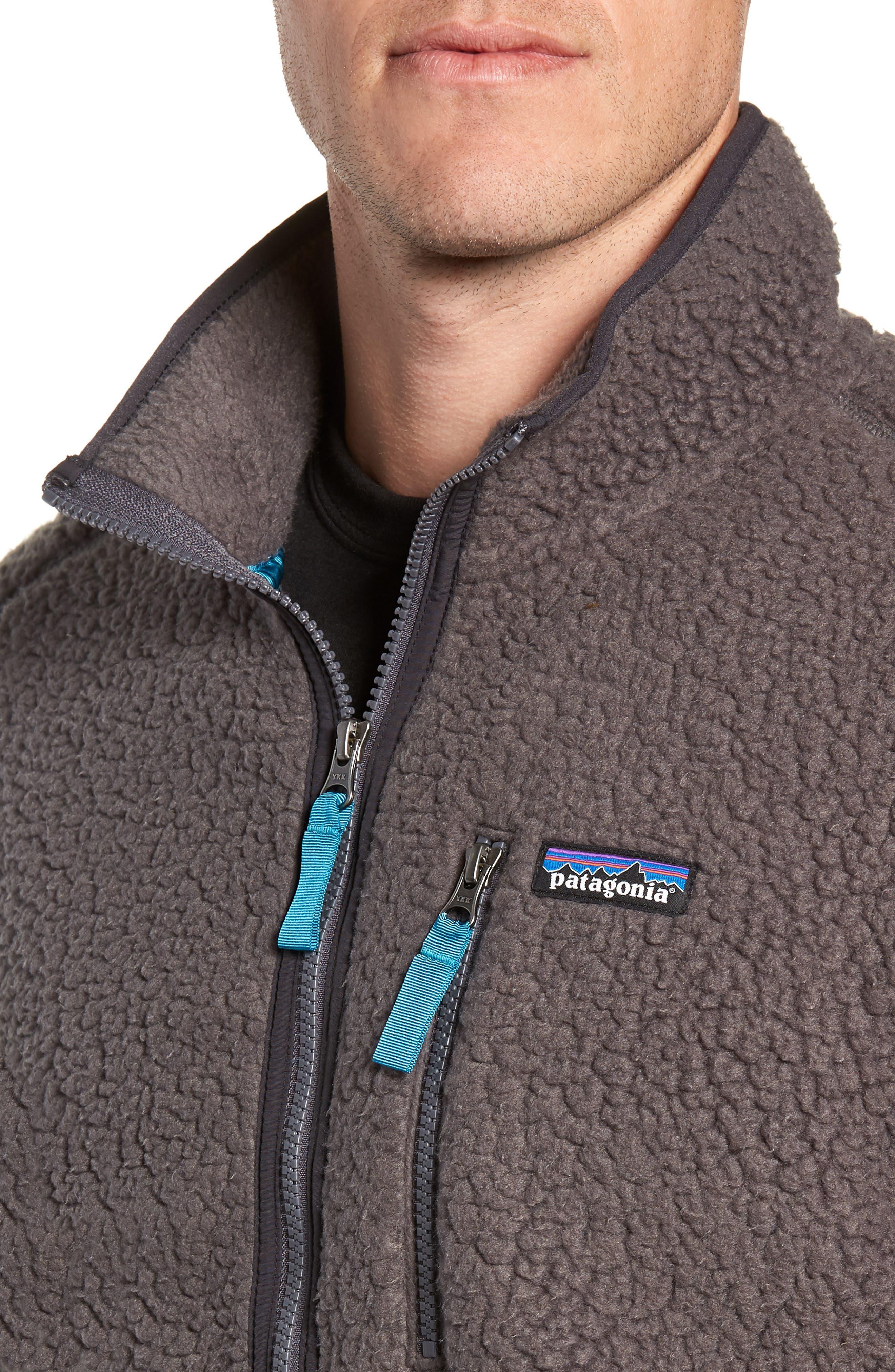 Retro Pile Fleece Zip Jacket,                             Alternate thumbnail 4, color,                             FORGE GREY