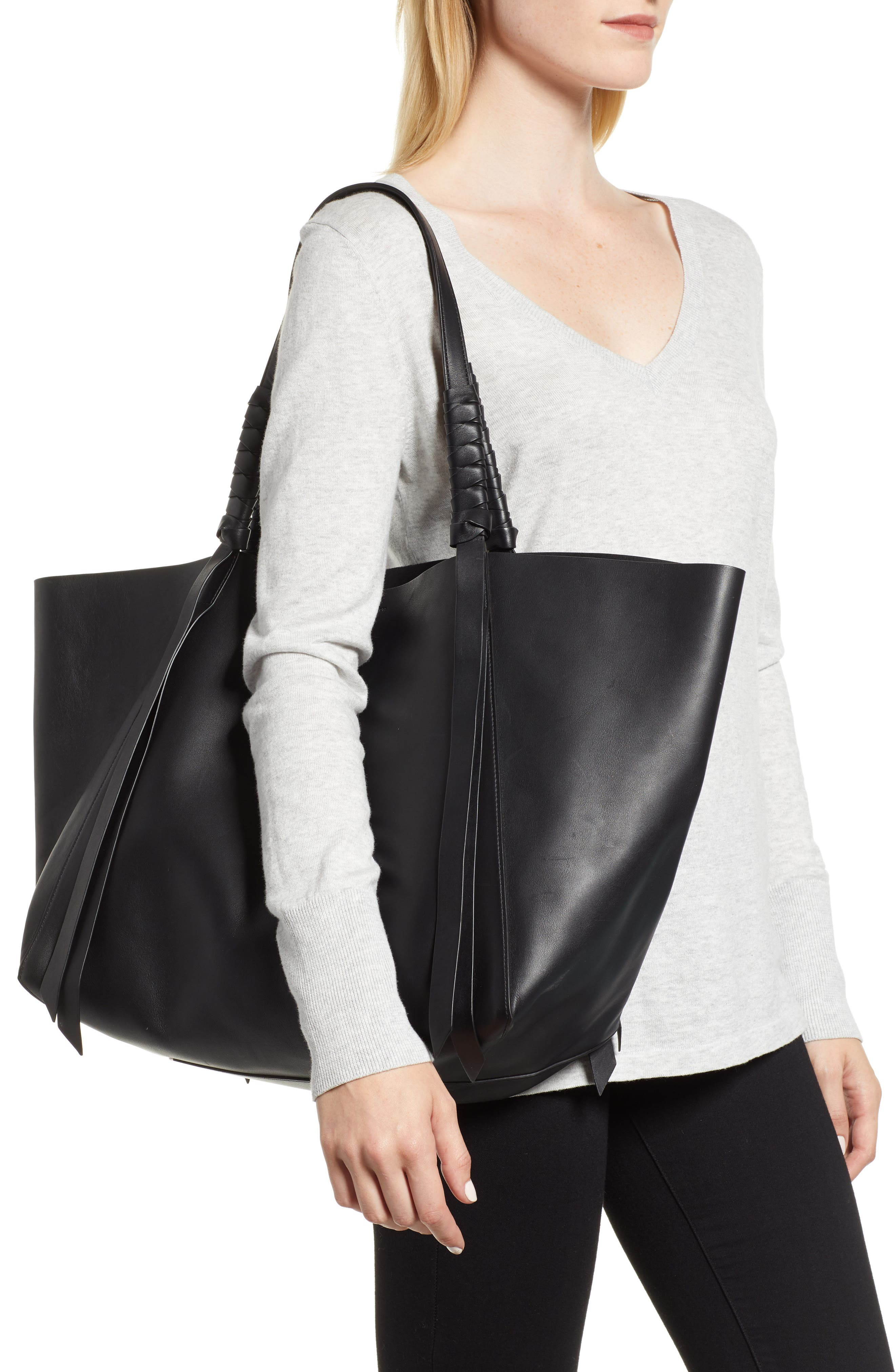 Voltaire Leather Tote,                             Alternate thumbnail 2, color,                             BLACK