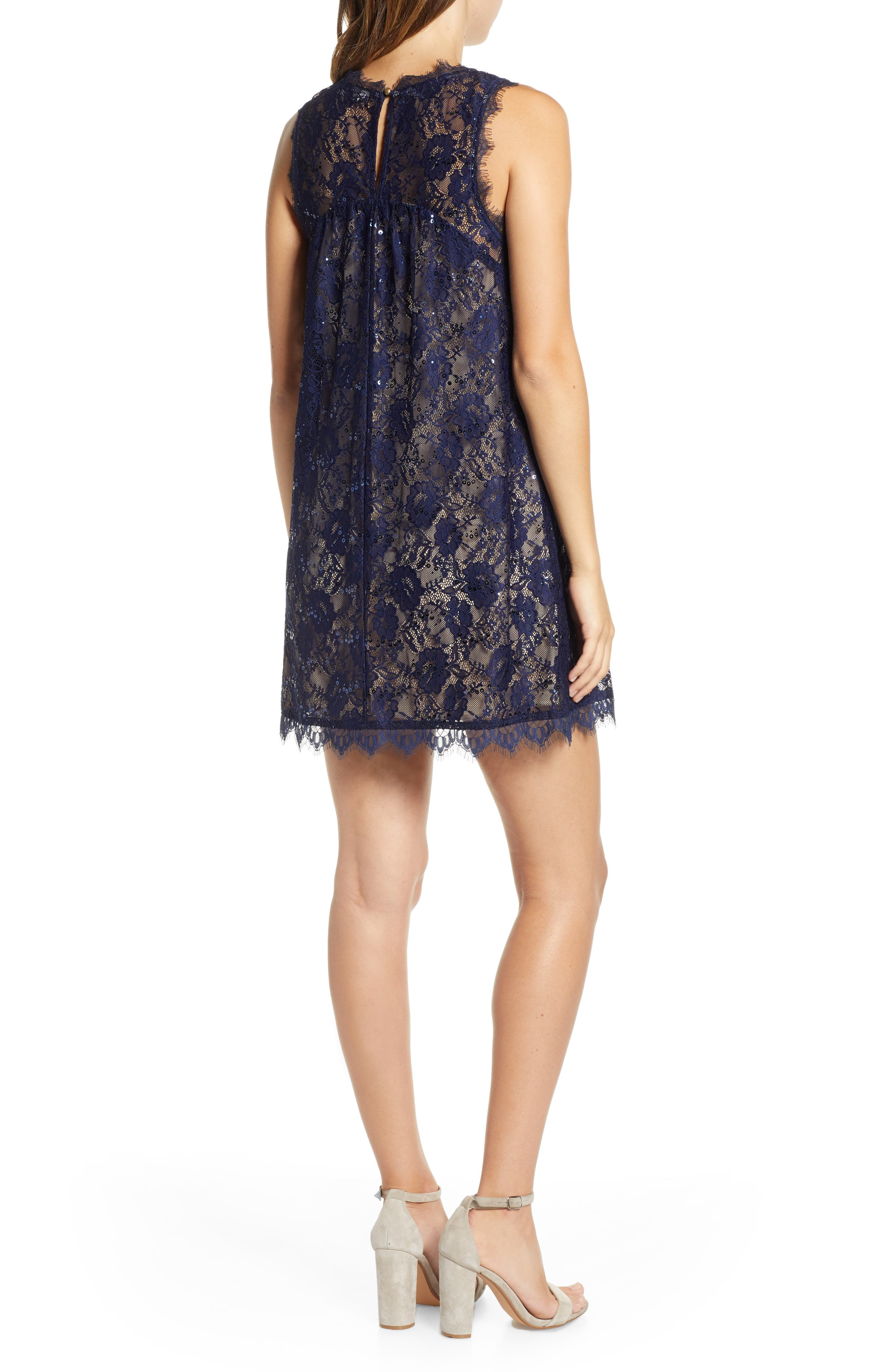 Sequin Lace Shift Dress,                             Alternate thumbnail 2, color,                             NAVY/ TAUPE