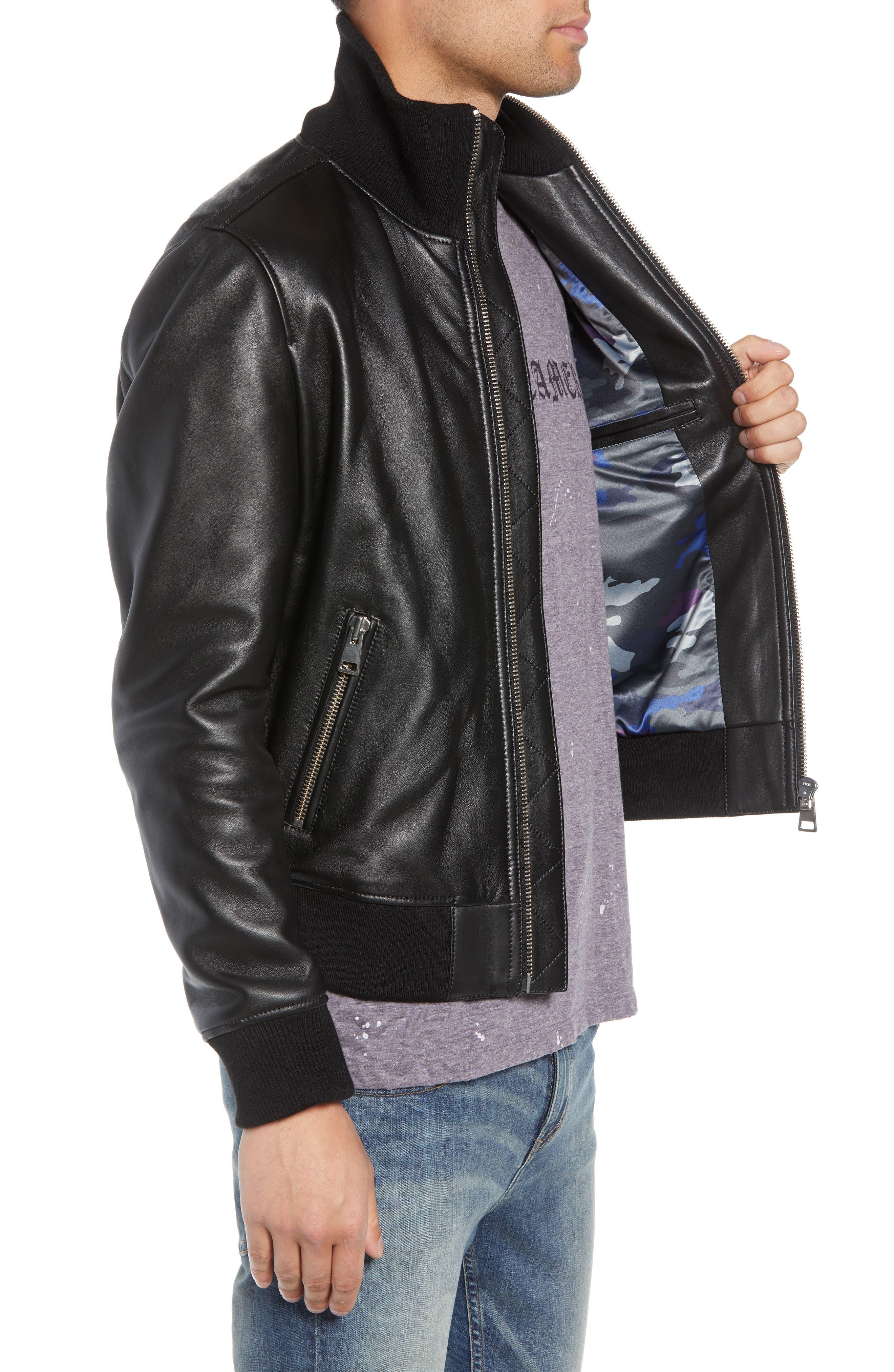 Regular Fit Leather Jacket,                             Alternate thumbnail 3, color,                             BLACK