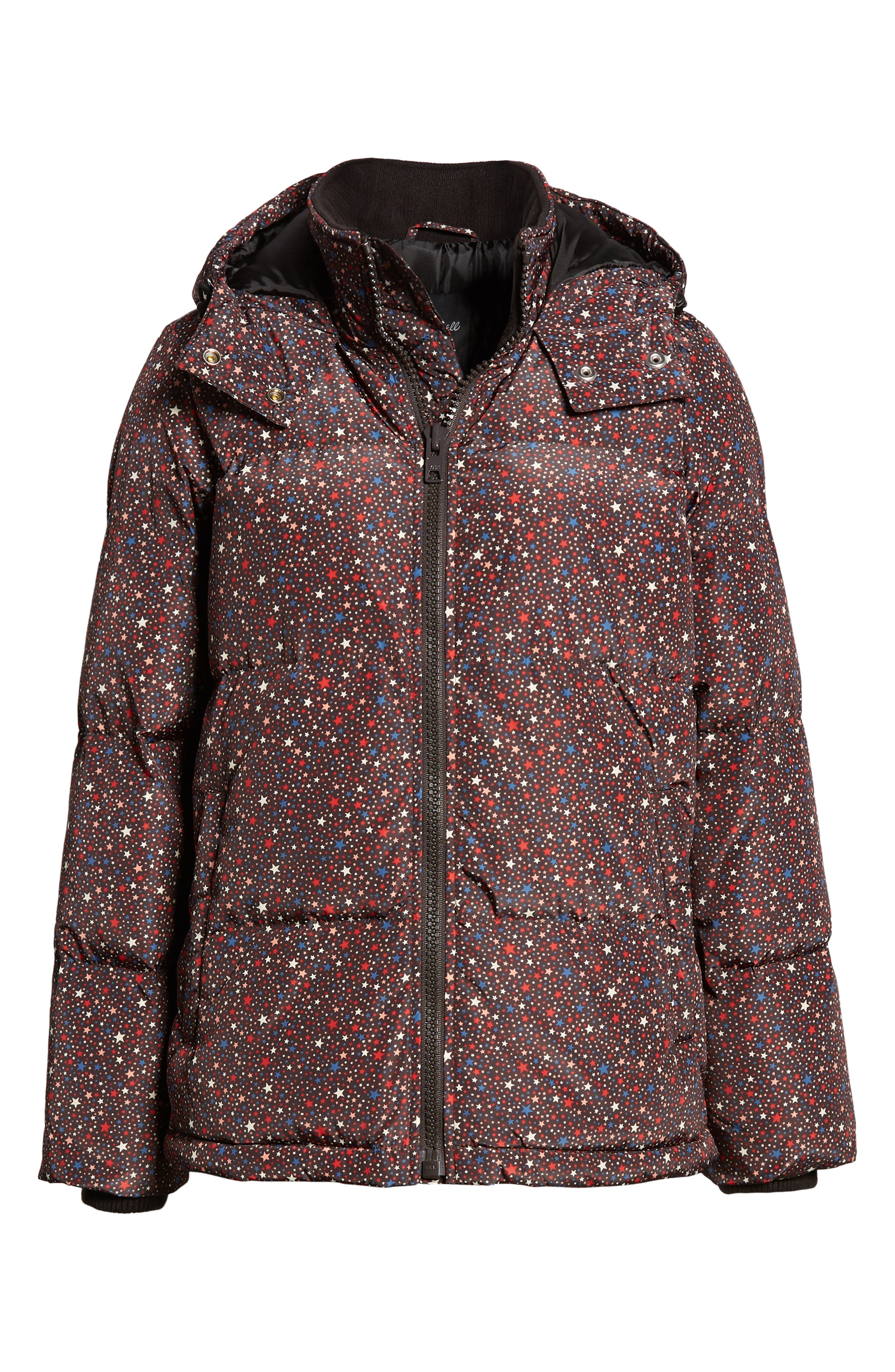 Starry Night Quilted Puffer Parka,                             Alternate thumbnail 6, color,                             DARK MEDITERRANEAN
