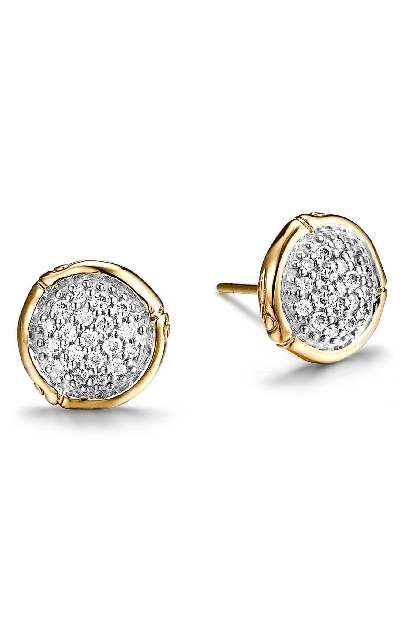 Bamboo Diamond & 18k Gold Stud Earrings,                             Main thumbnail 1, color,                             GOLD