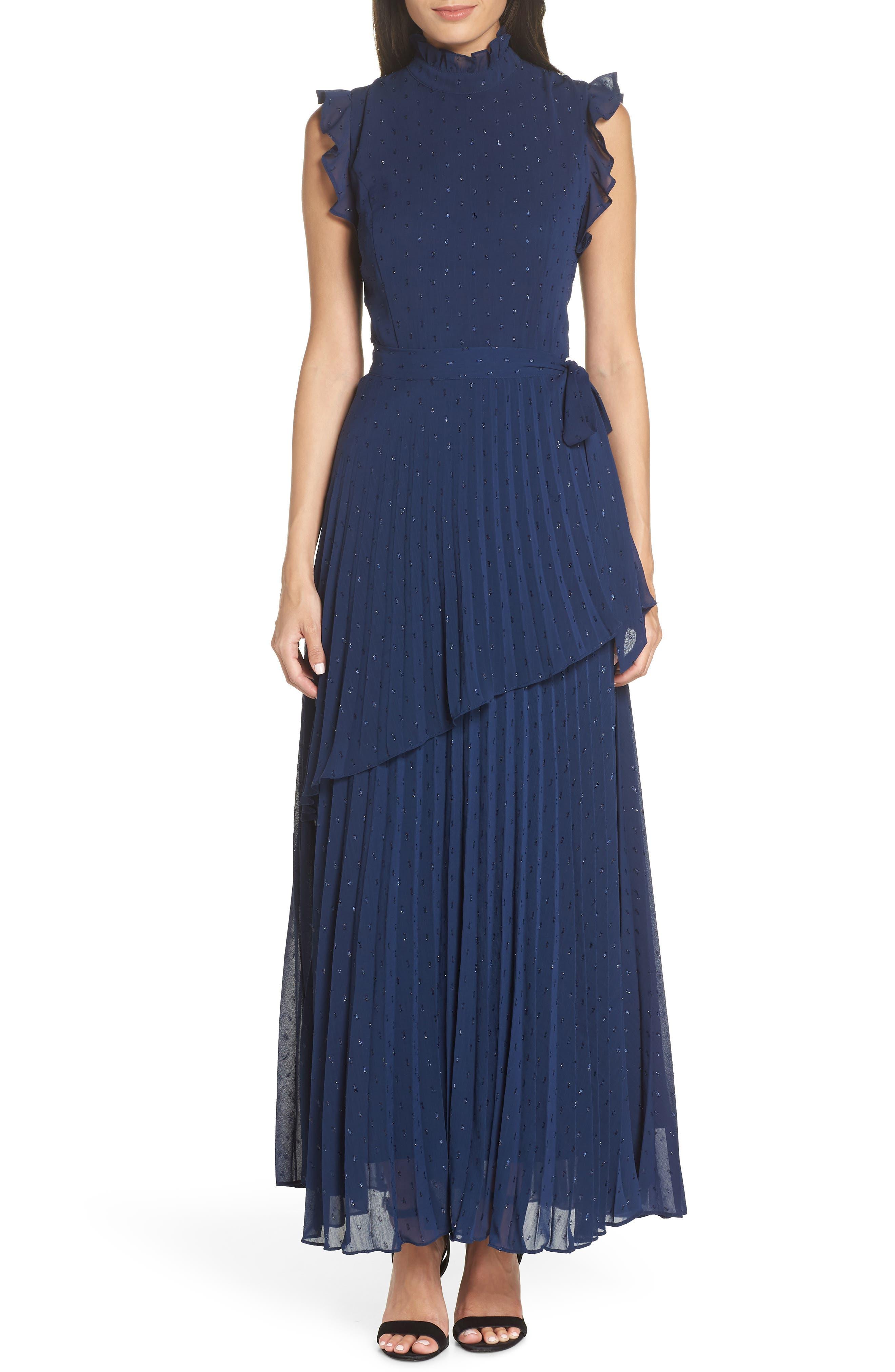 Chelsea28 Wrap Waist Pleated Maxi Dress, Blue