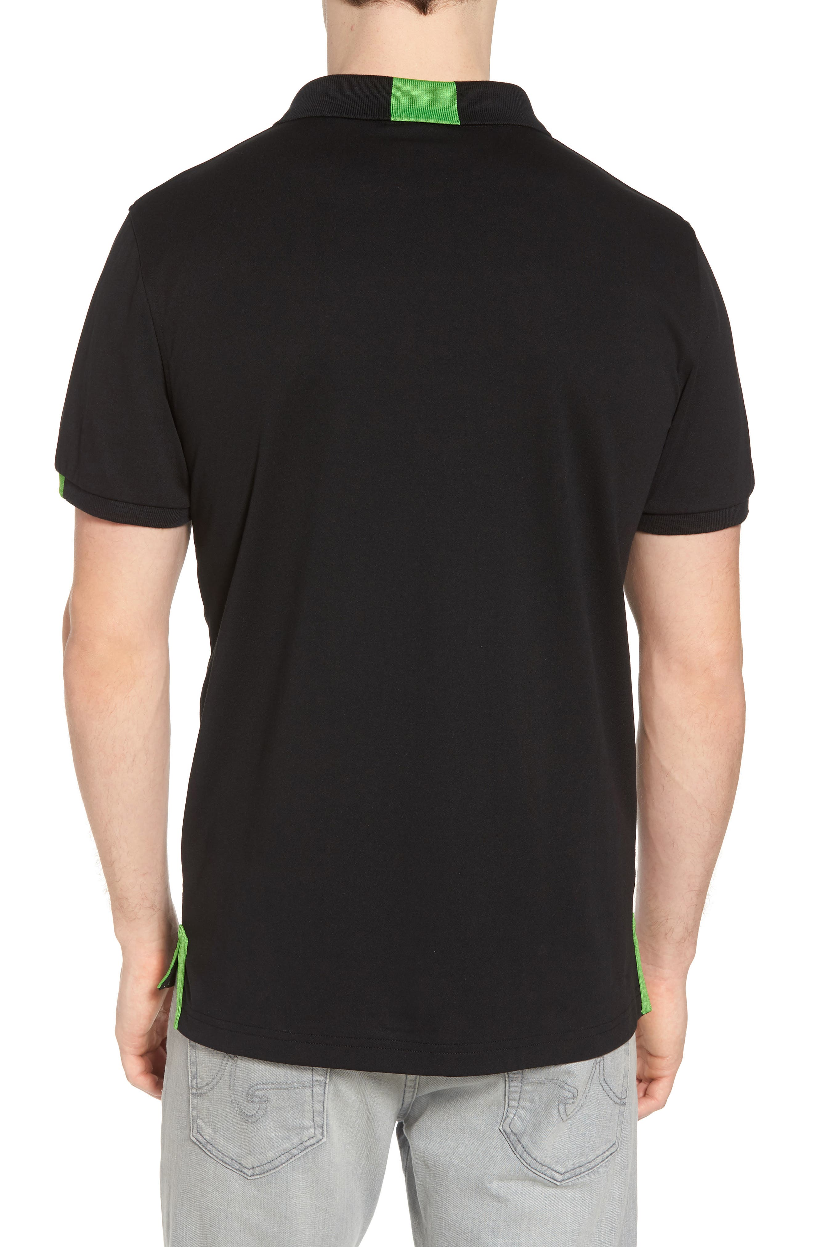 Neon Tipped Golf Polo,                             Alternate thumbnail 2, color,                             001