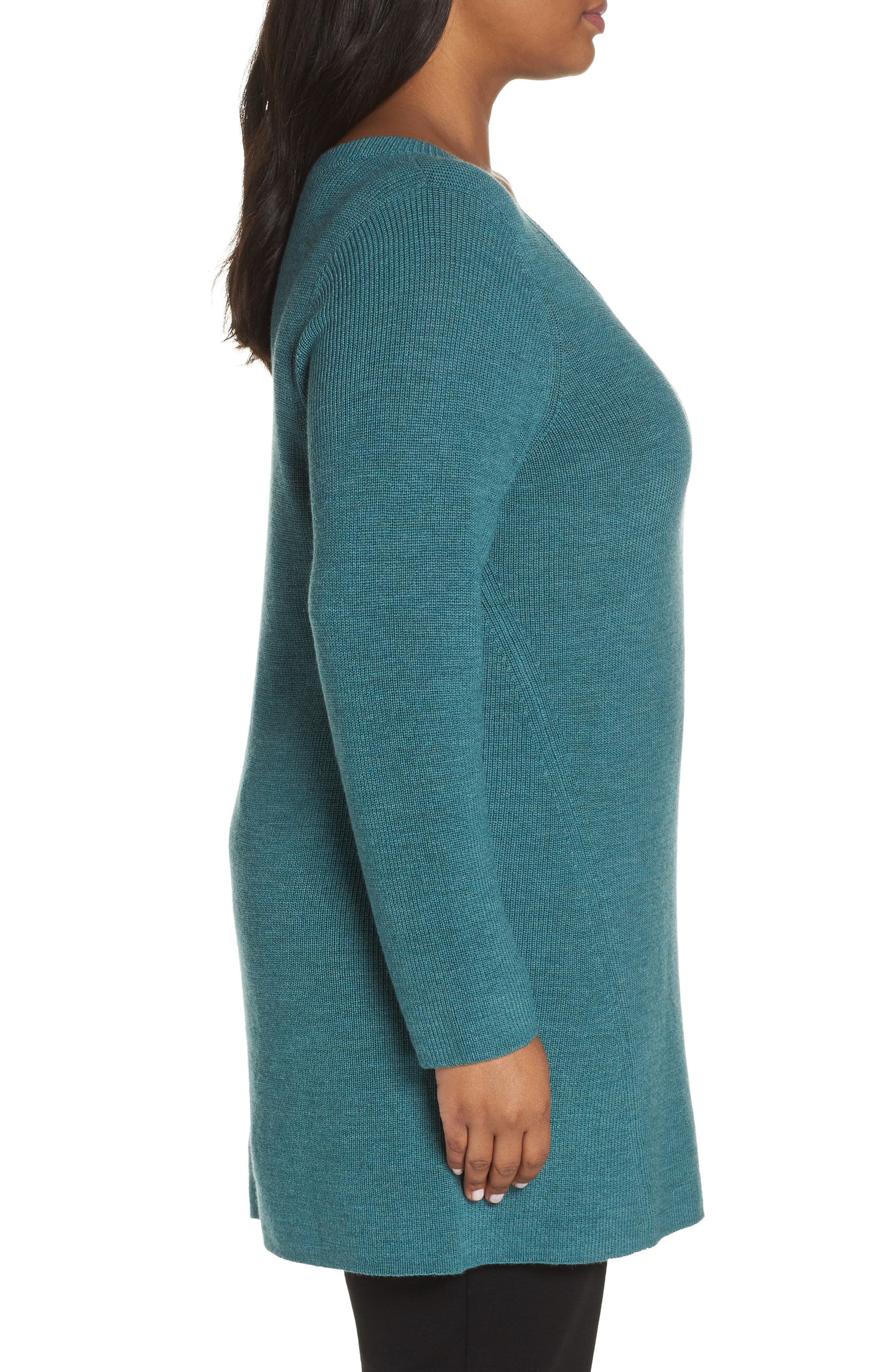 EILEEN FISHER,                             Merino Wool Tunic Sweater,                             Alternate thumbnail 3, color,                             DRAGONFLY