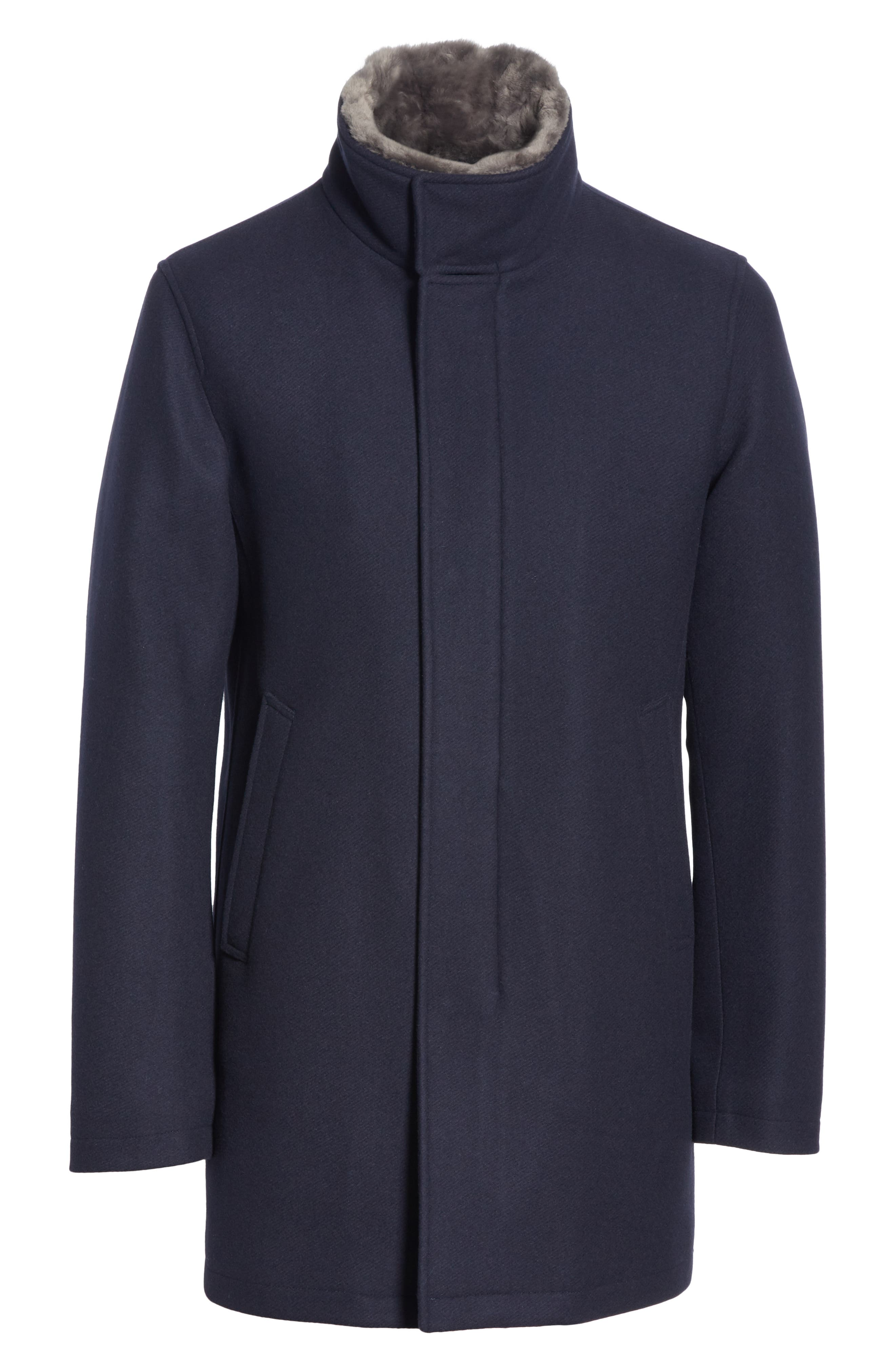 Genuine Beaver Fur Collar Wool Blend Coat,                             Alternate thumbnail 5, color,                             NAVY