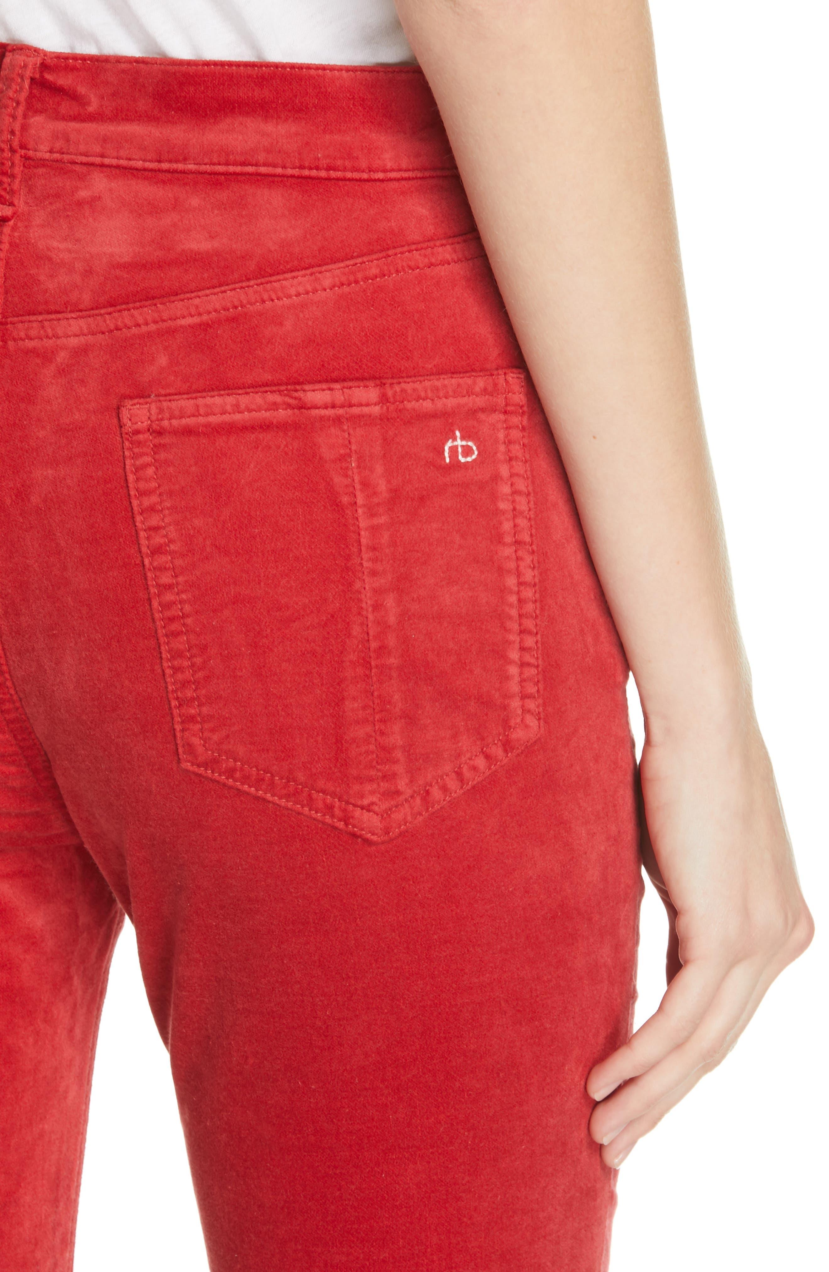 RAG & BONE,                             High Waist Velvet Skinny Pants,                             Alternate thumbnail 4, color,                             620