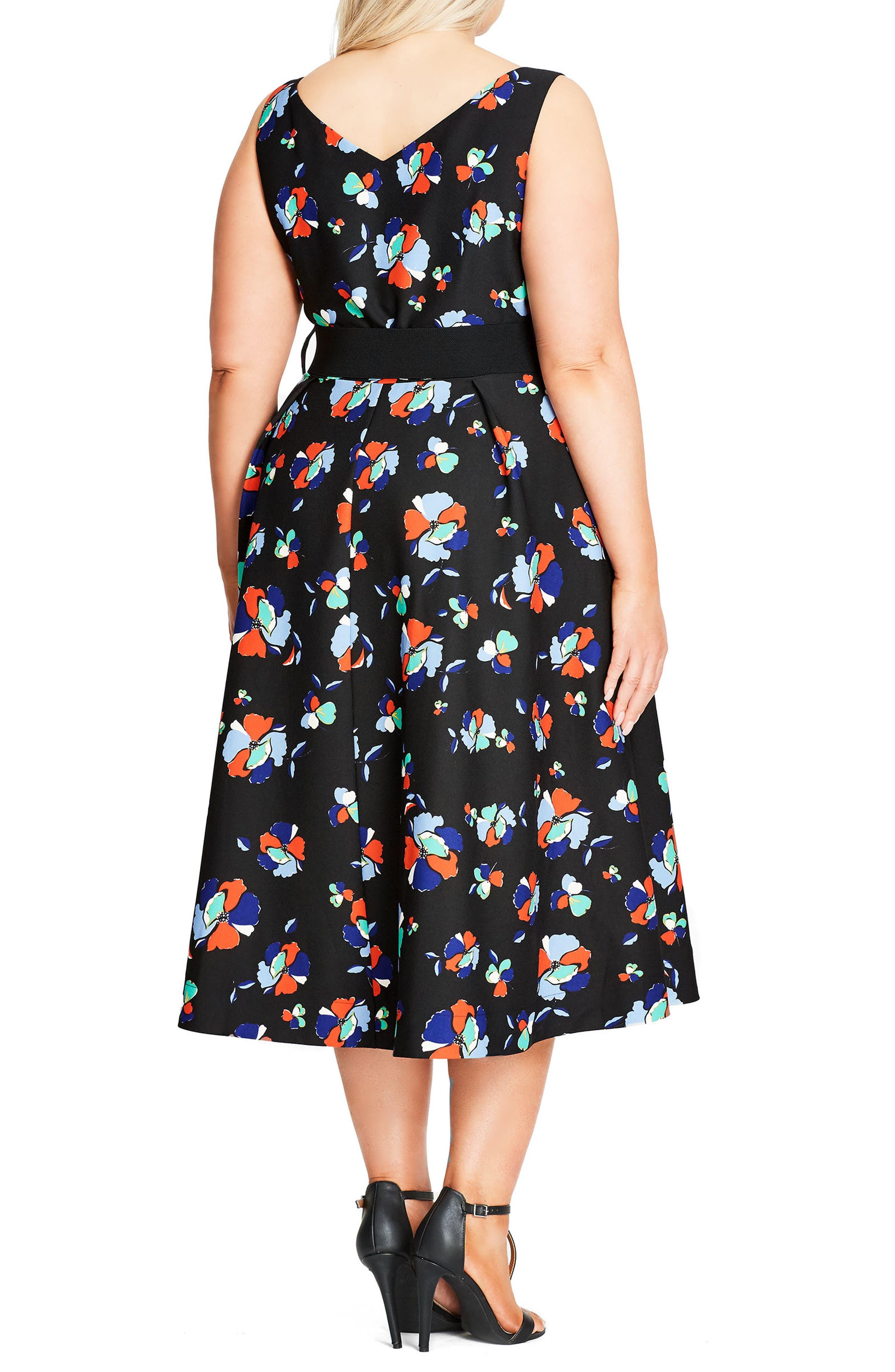 Sweet Belted Tea Length Dress,                             Alternate thumbnail 2, color,                             408