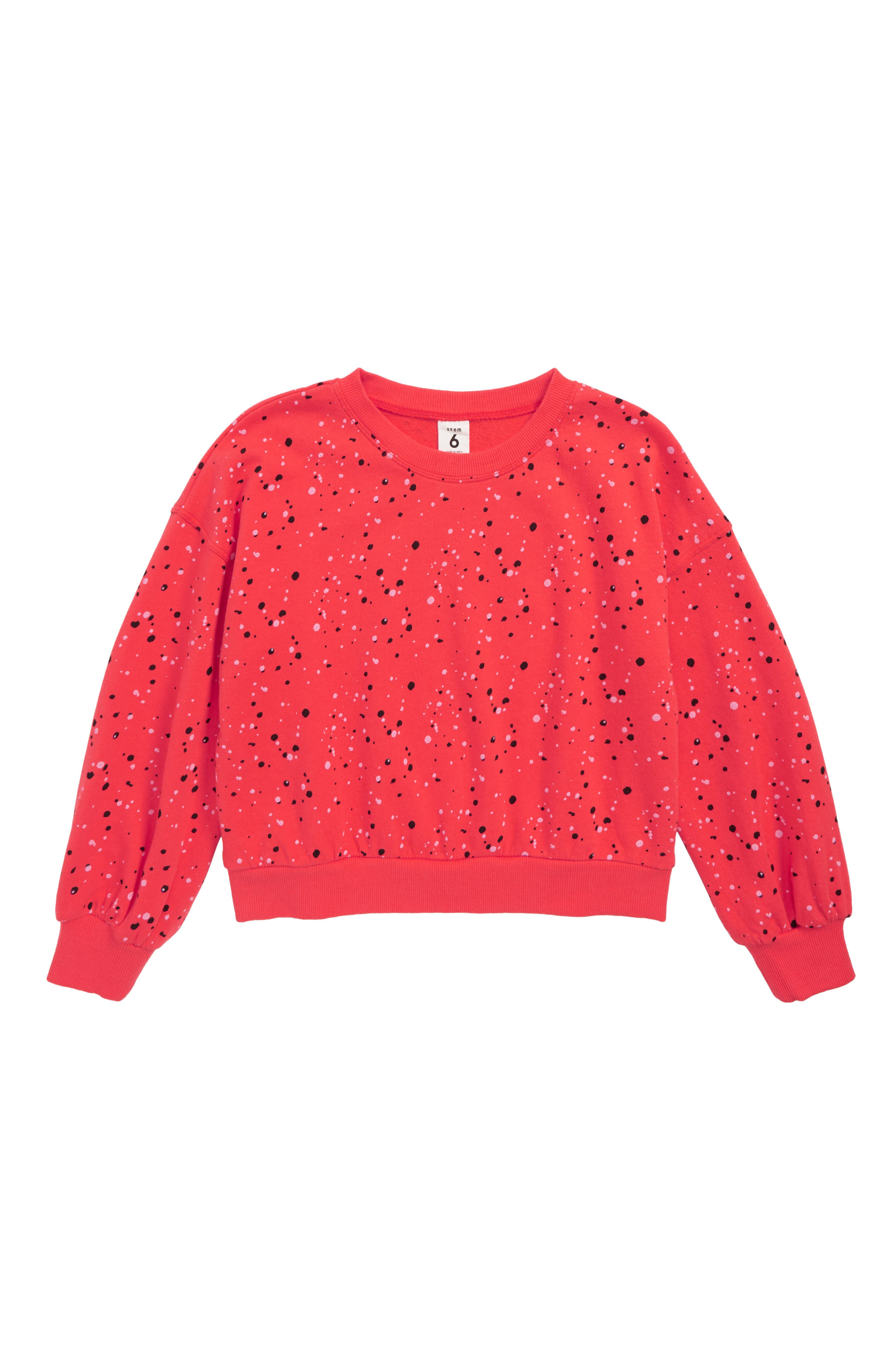 Bubble Sleeve Stripe Sweatshirt,                             Main thumbnail 1, color,                             RED HIBISCUS MULTI SPLATTER