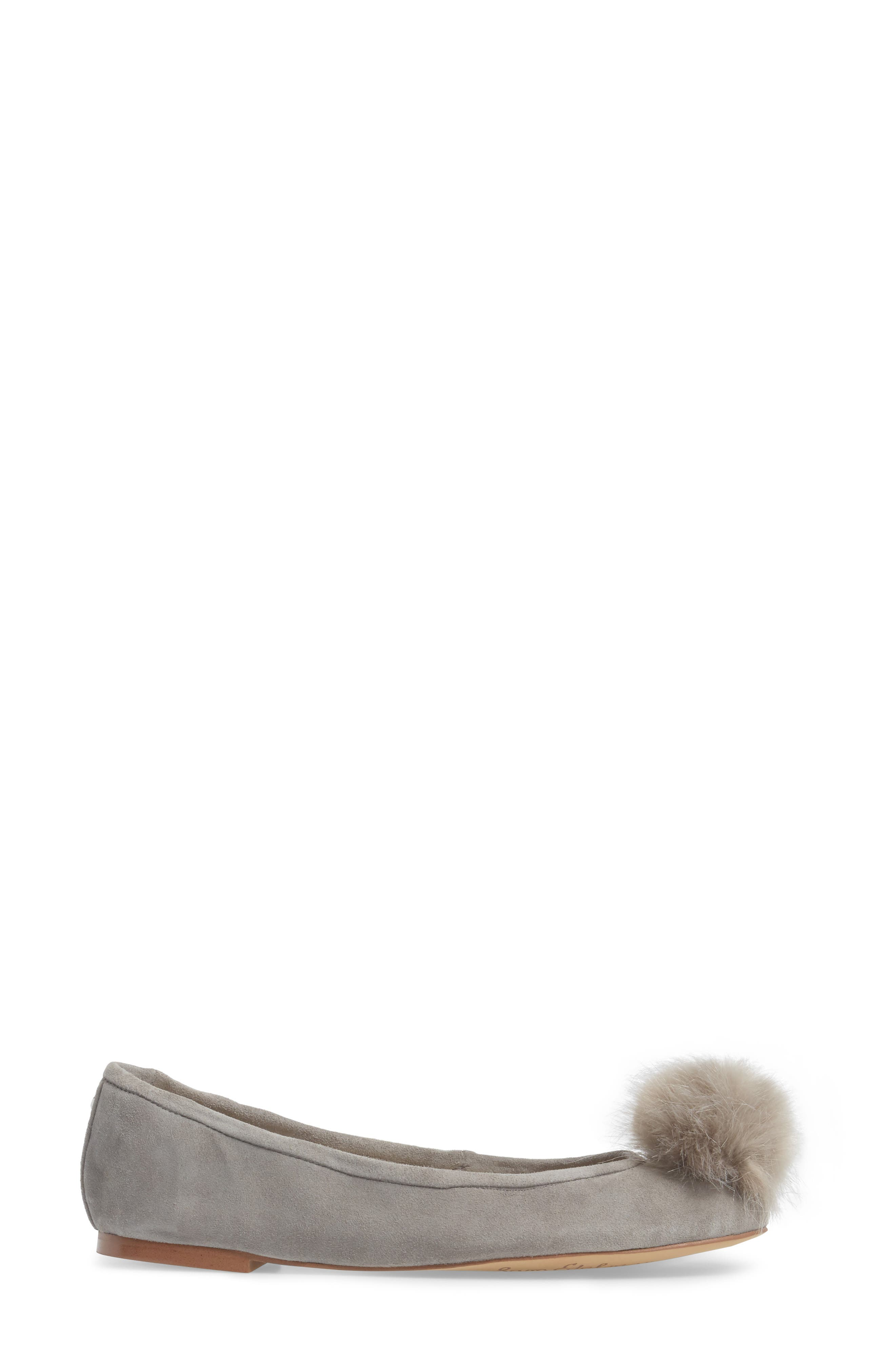 Farina Flat with Faux Fur Pompom,                             Alternate thumbnail 3, color,                             020