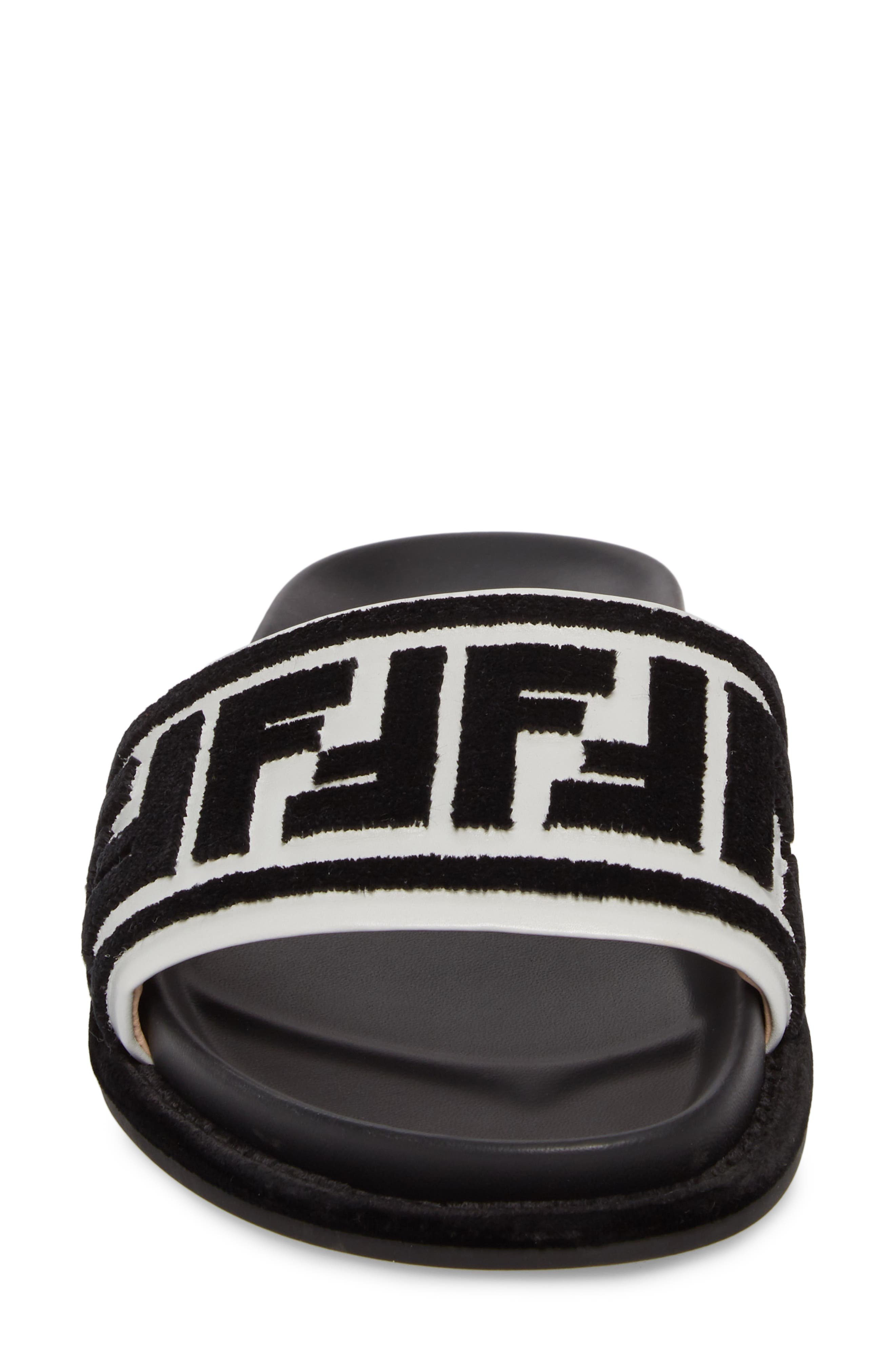 Fun Fendi Logo Slide Sandal,                             Alternate thumbnail 4, color,                             BLACK/ WHITE
