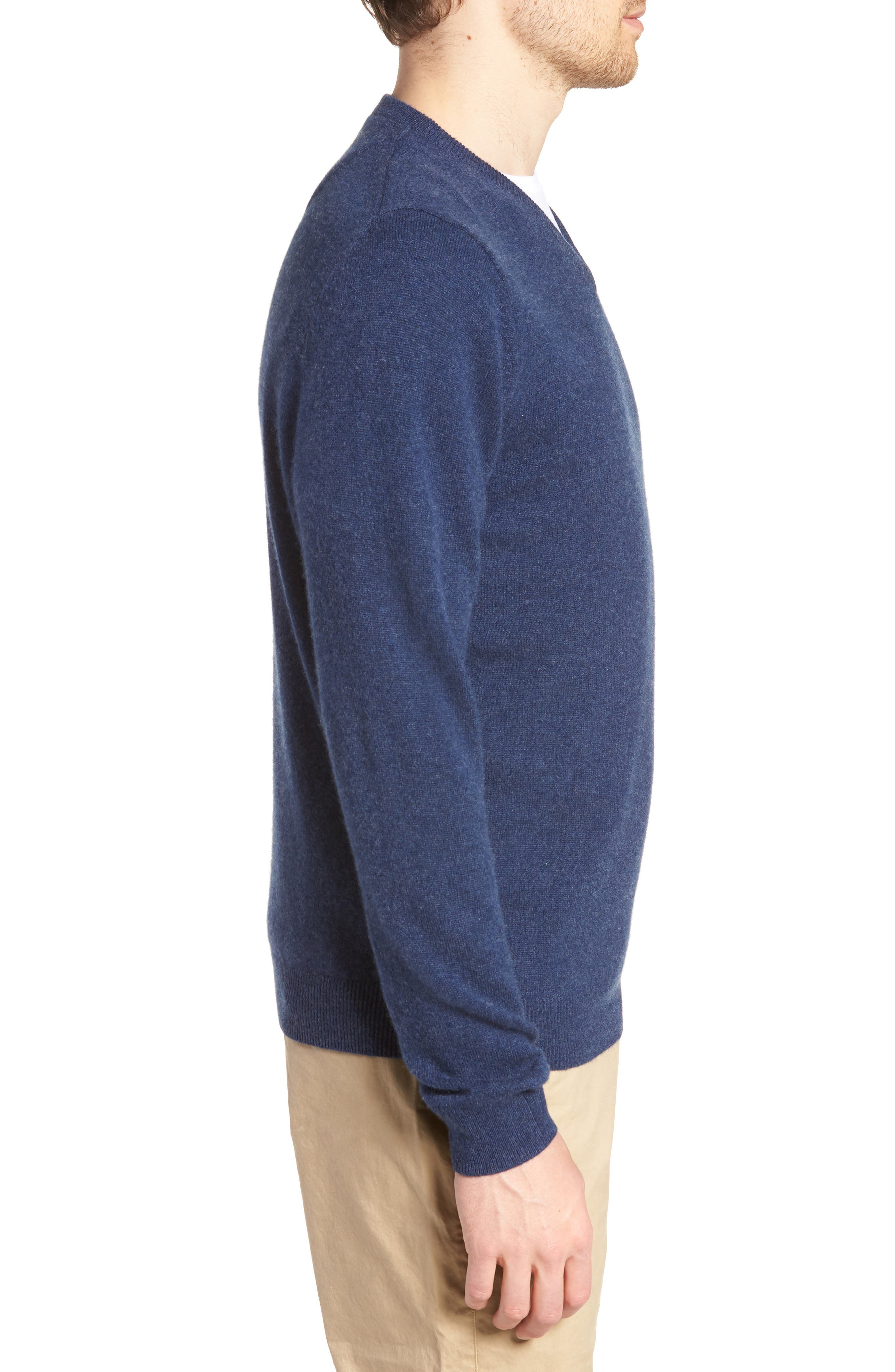 Cashmere V-Neck Sweater,                             Alternate thumbnail 3, color,                             BLUE ESTATE HEATHER