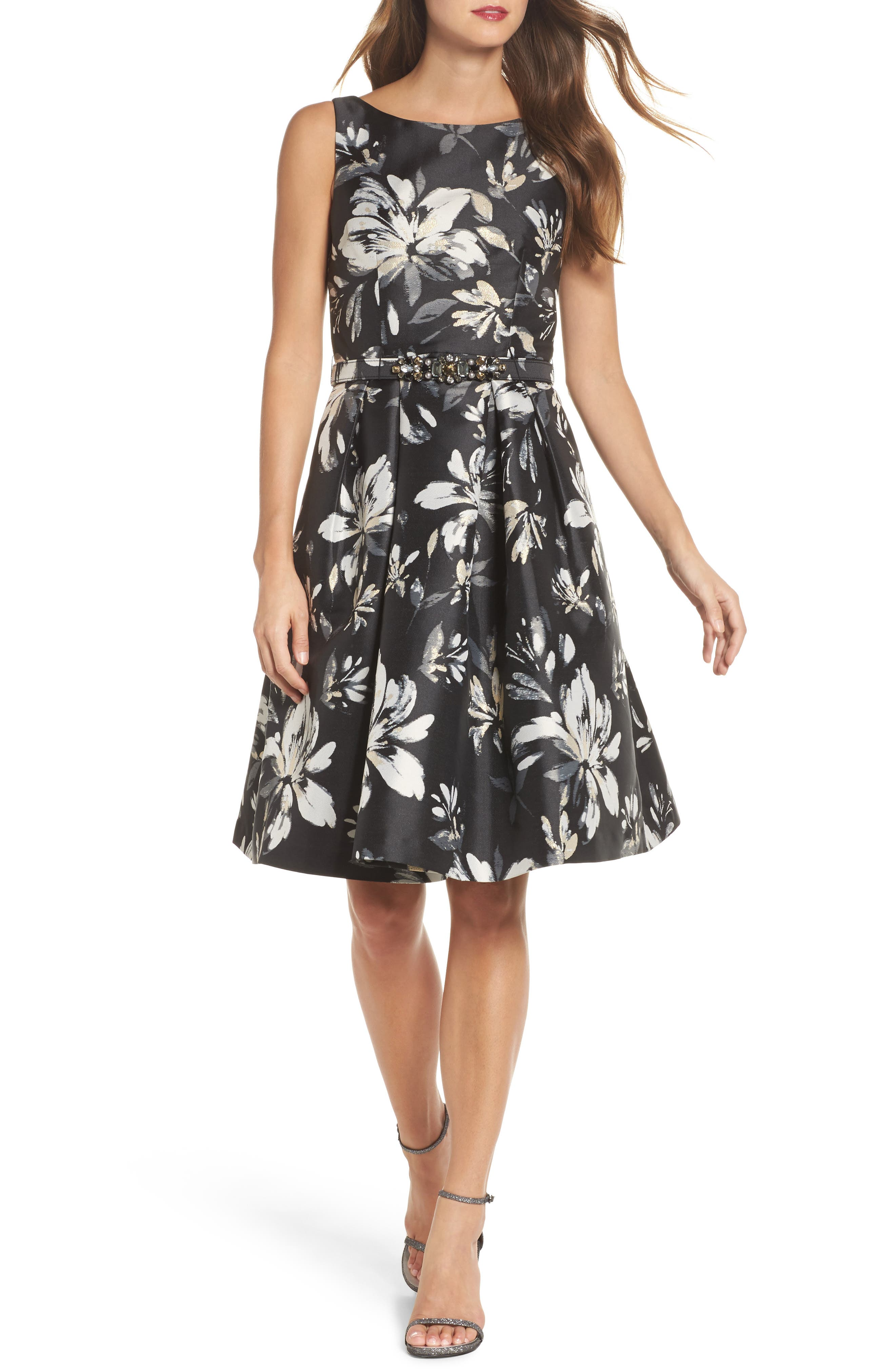 Belted Metallic Jacquard Party Dress,                         Main,                         color, 001