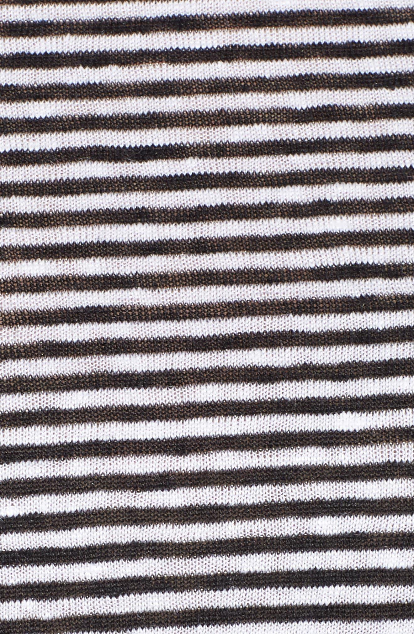 Stripe Organic Linen Jersey Shift Dress,                             Alternate thumbnail 6, color,                             BLACK/ WHITE