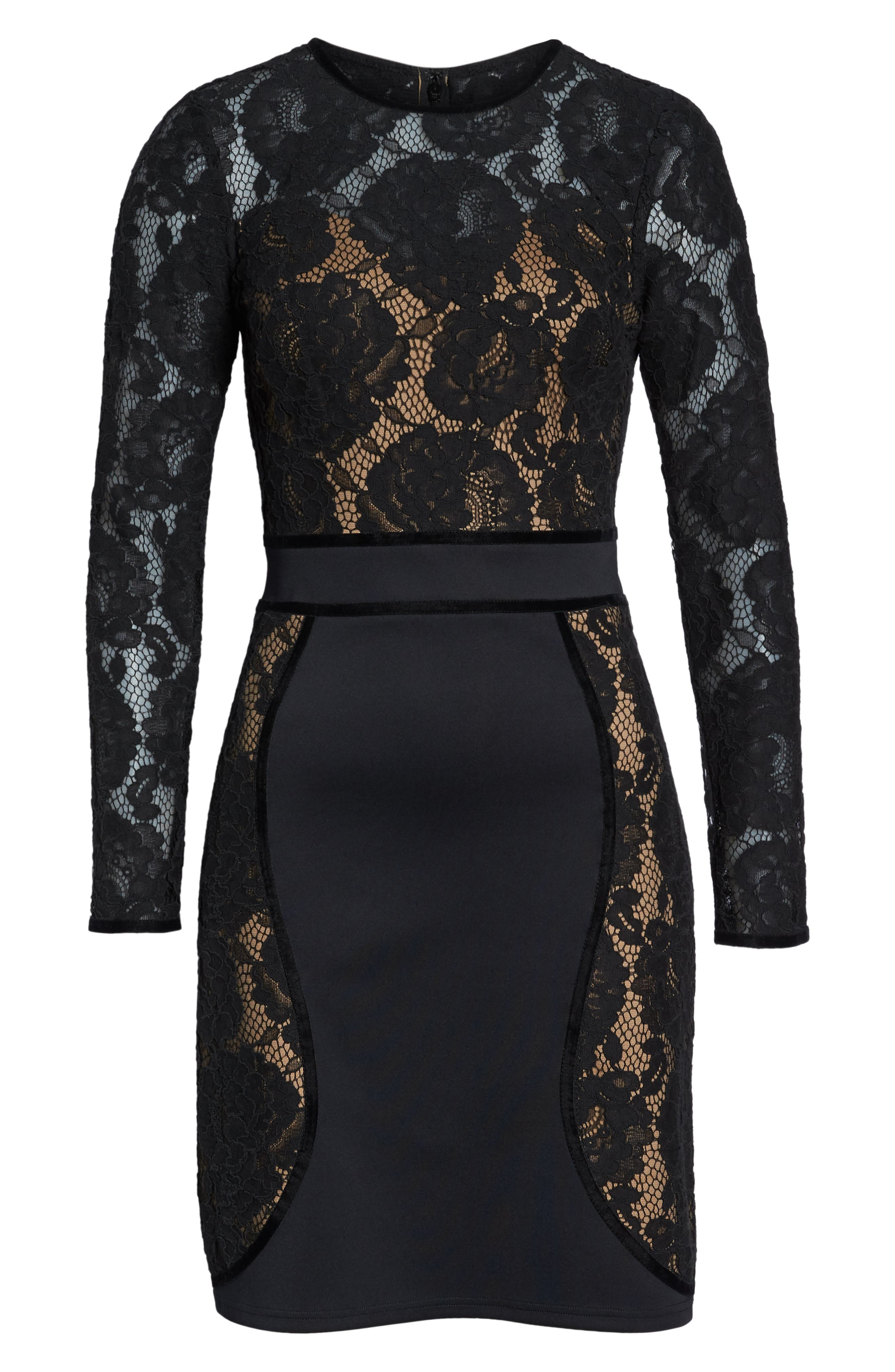 Embroidered Lace Dress,                             Alternate thumbnail 7, color,                             BLACK/ NUDE