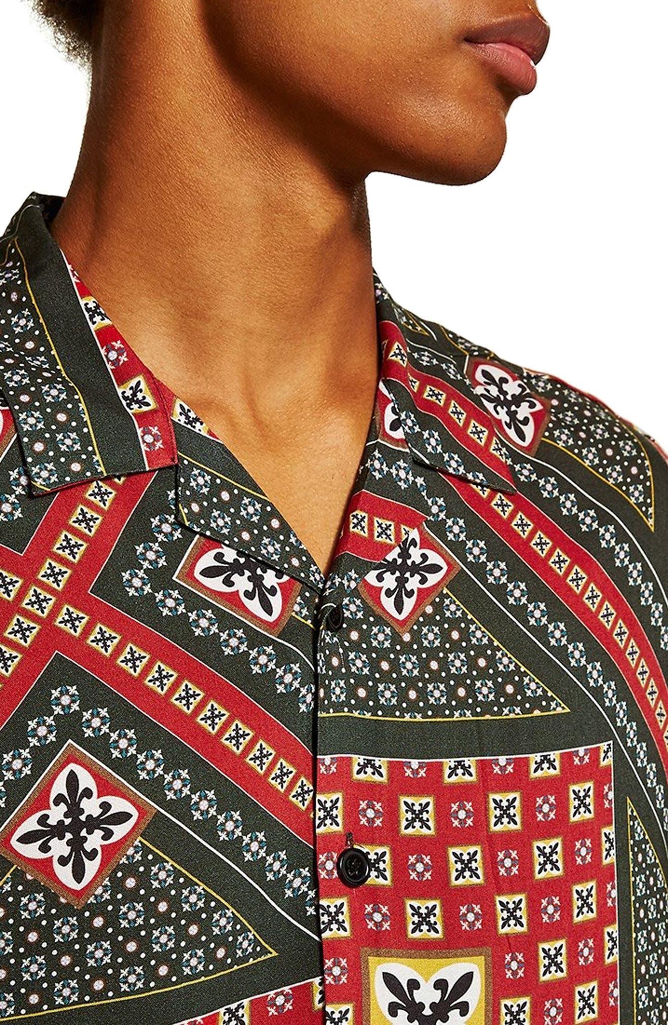 Geometric Classic Fit Shirt,                             Alternate thumbnail 2, color,                             RED MULTI