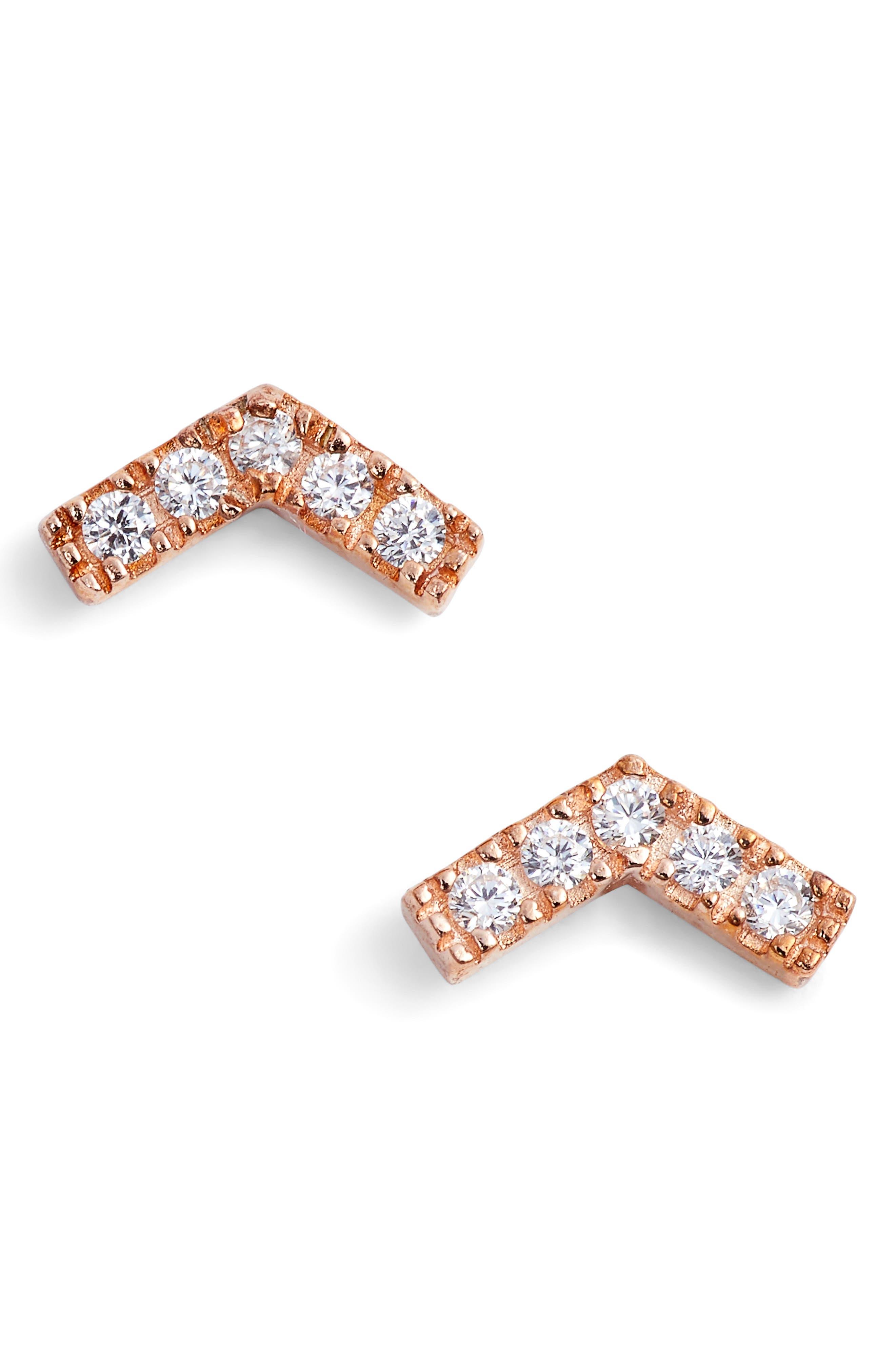 Chevron Stud Earrings,                             Main thumbnail 3, color,