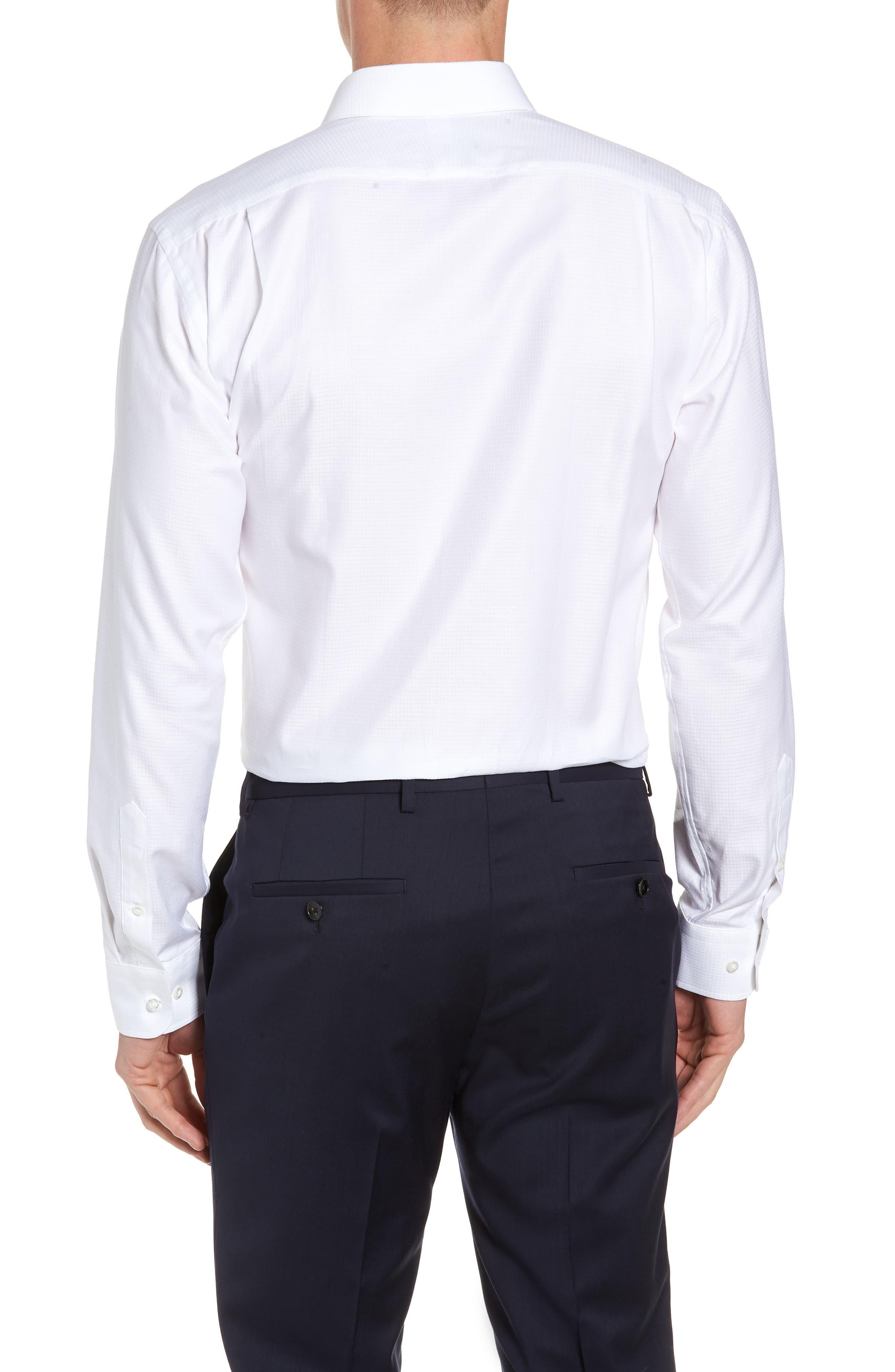 Trim Fit Check Dress Shirt,                             Alternate thumbnail 3, color,                             WHITE