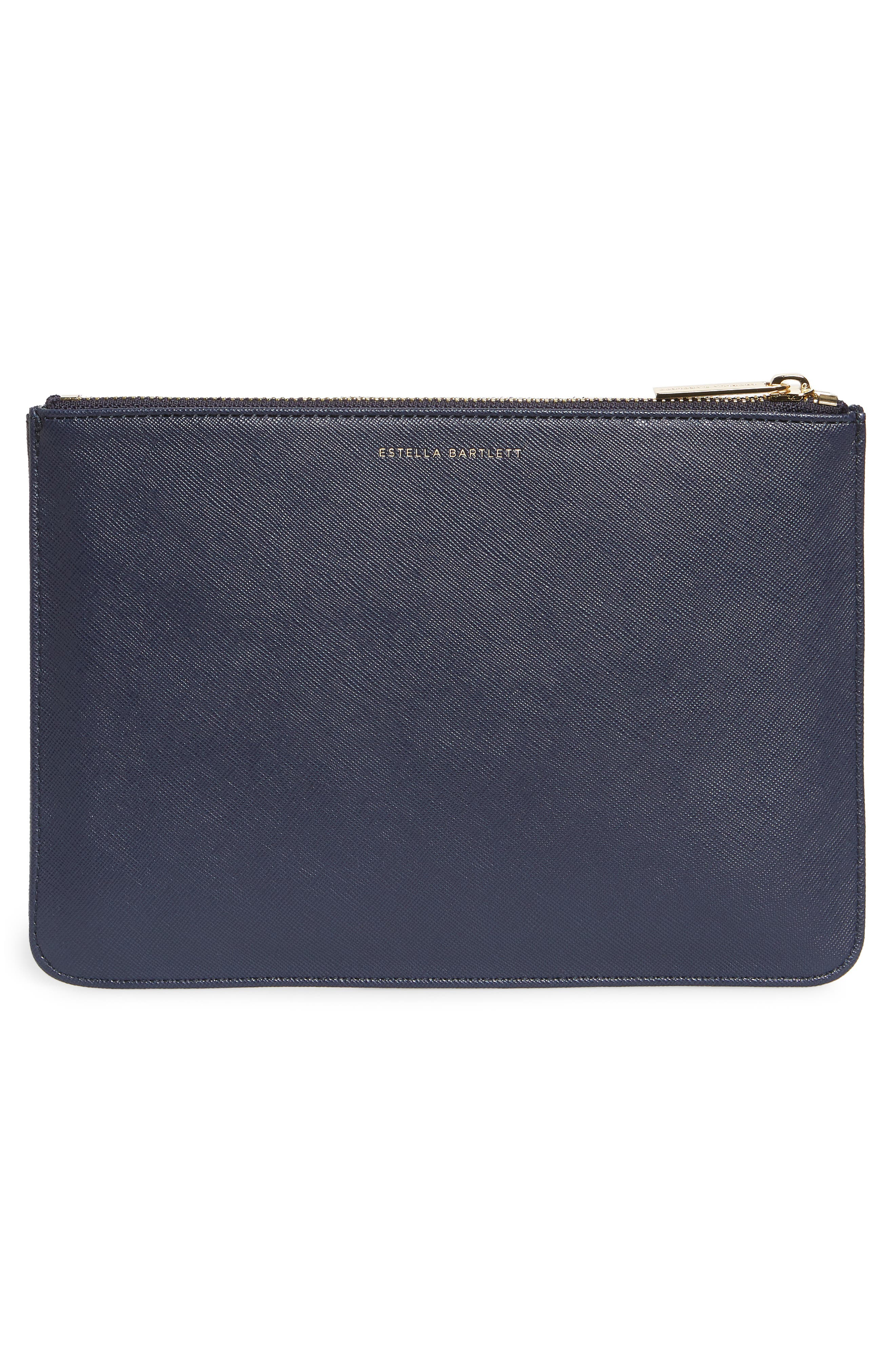 Live As You Dream Medium Faux Leather Pouch,                             Alternate thumbnail 3, color,                             NAVY