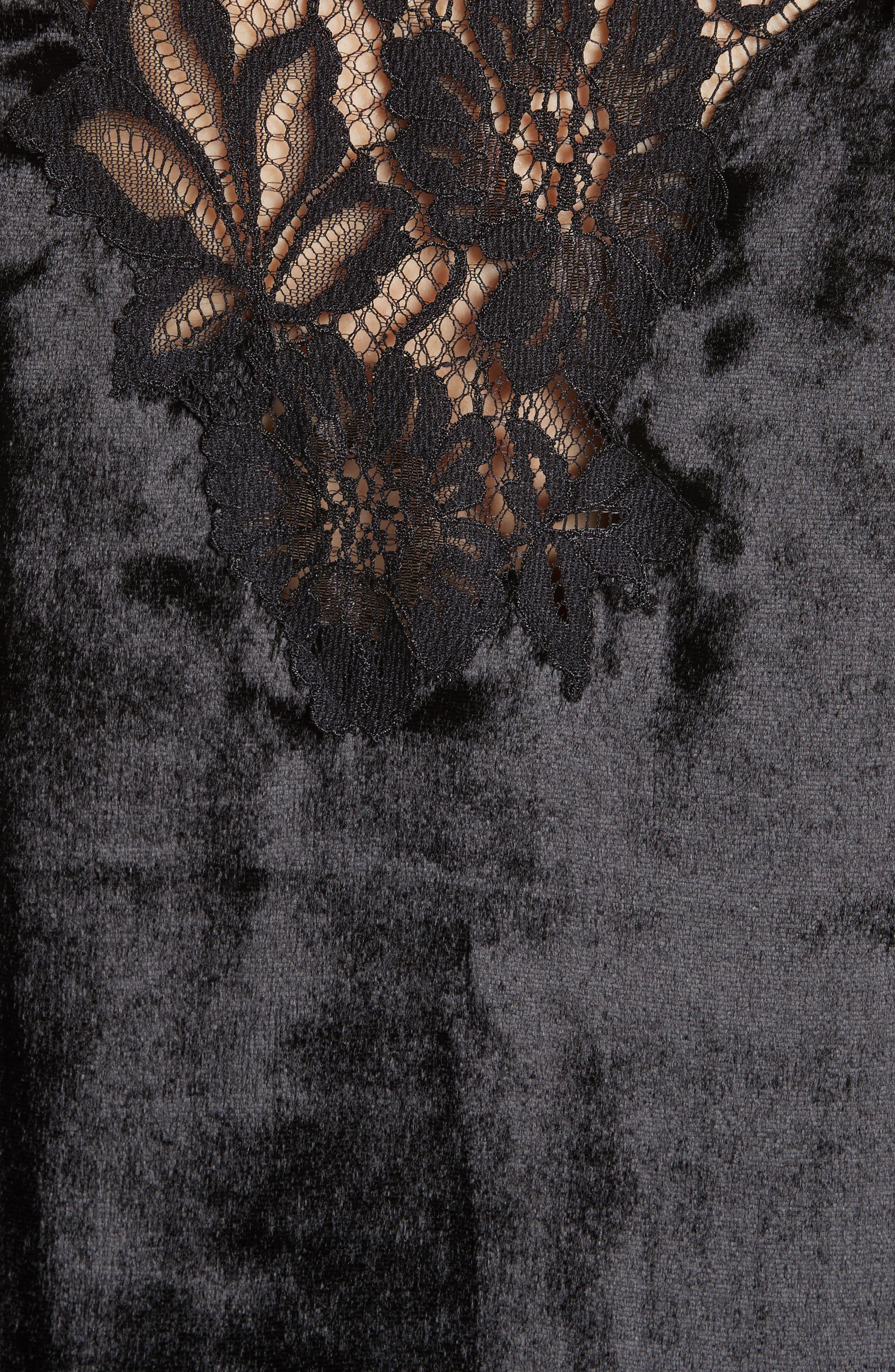 Charice Lace Trim Velvet Slipdress,                             Alternate thumbnail 5, color,                             001