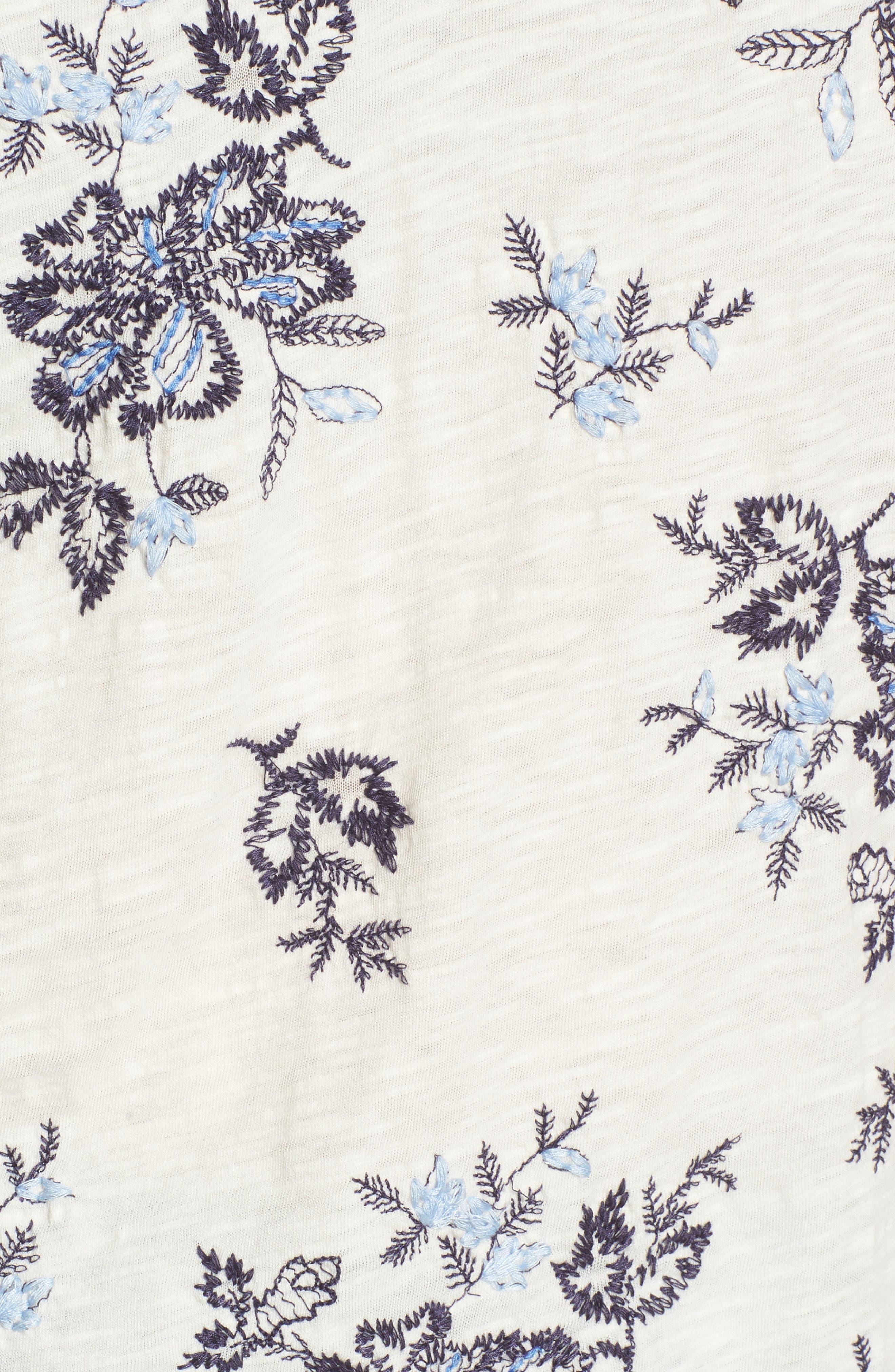 Floral Embroidered Cold Shoulder Top,                             Alternate thumbnail 5, color,                             460