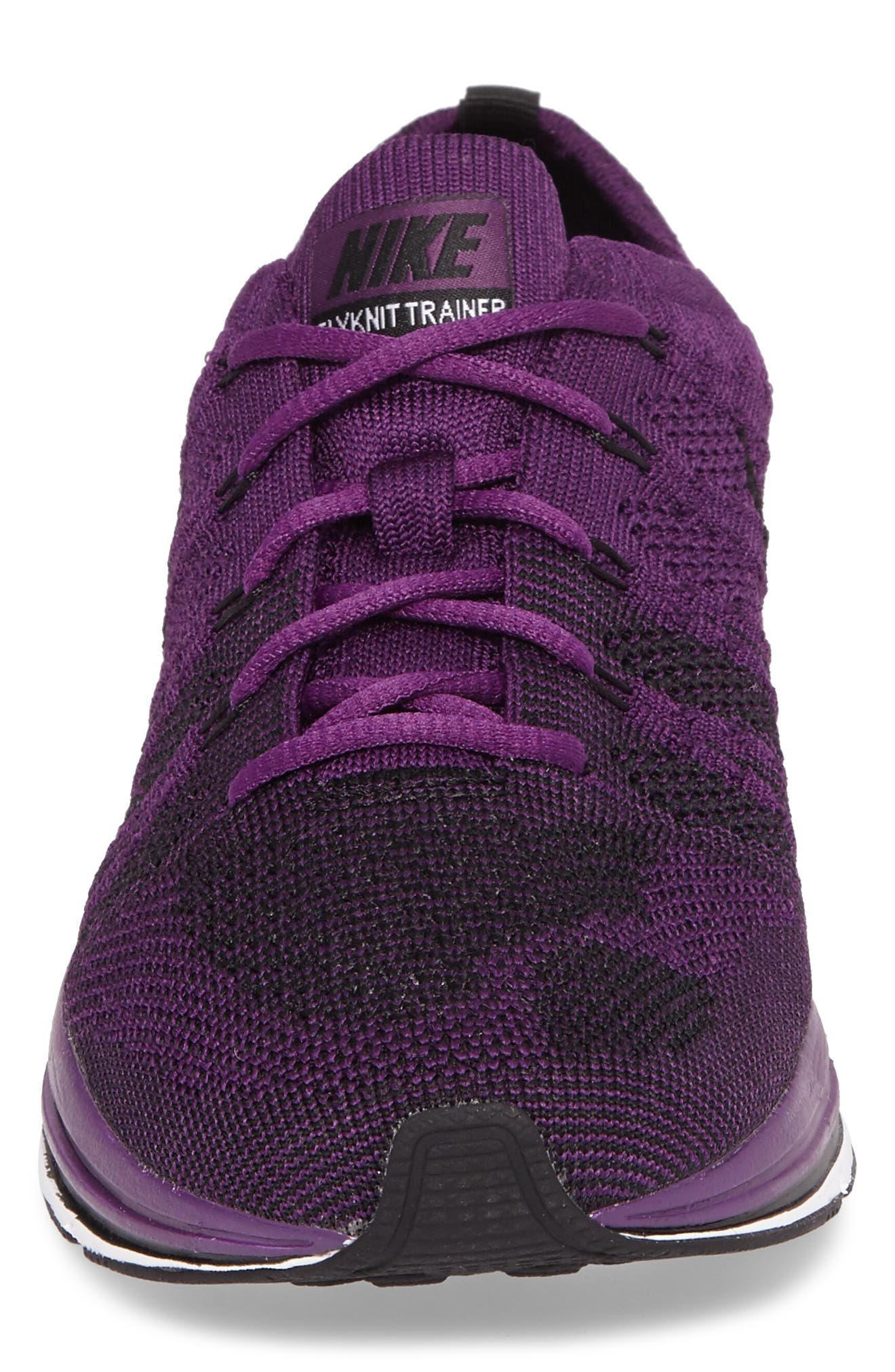 NikeLab Flyknit Trainer Sneaker,                             Alternate thumbnail 4, color,                             NIGHT PURPLE/ BLACK/ WHITE
