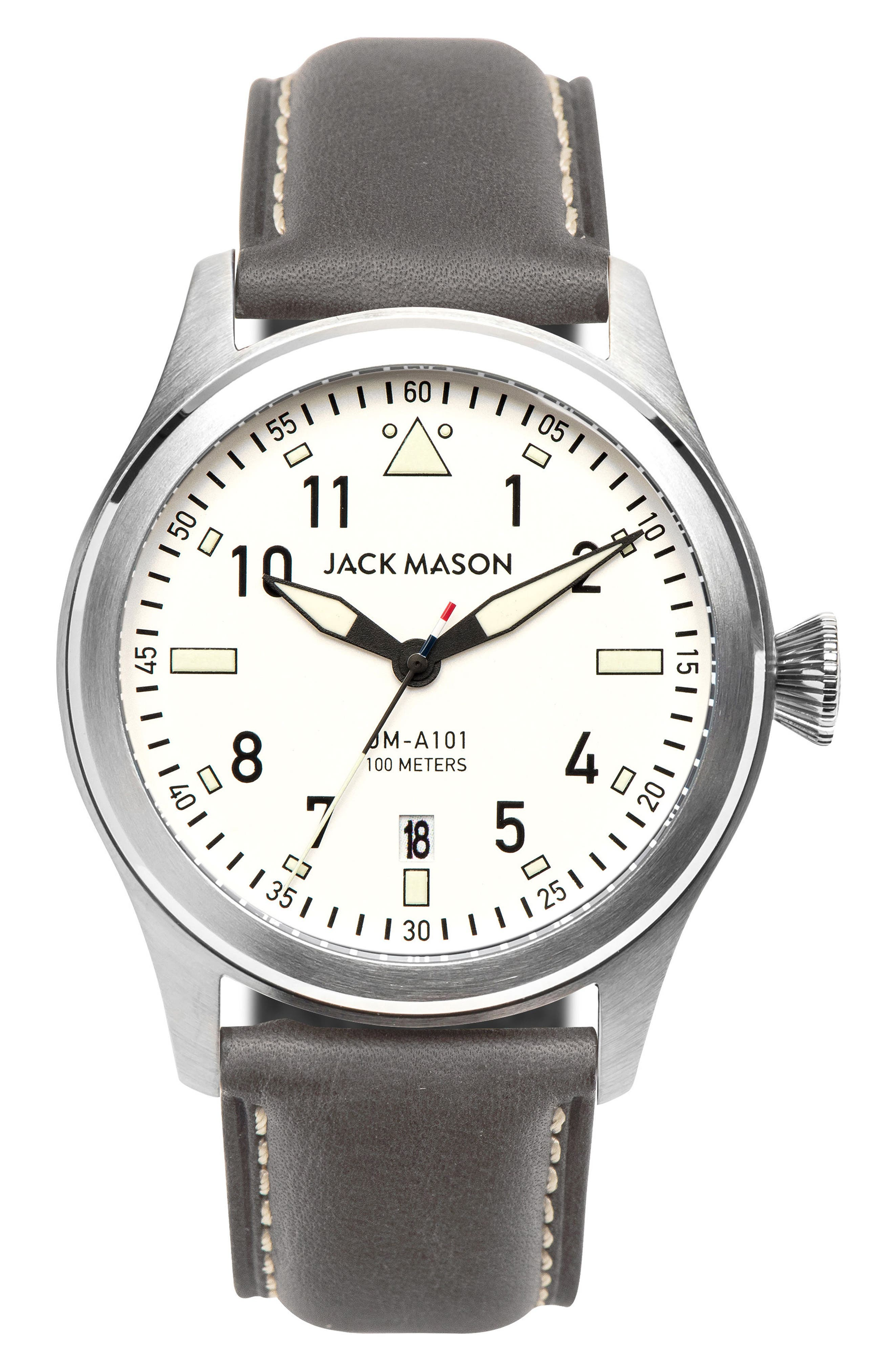 Aviation Leather Strap Watch, 42mm,                         Main,                         color, 020