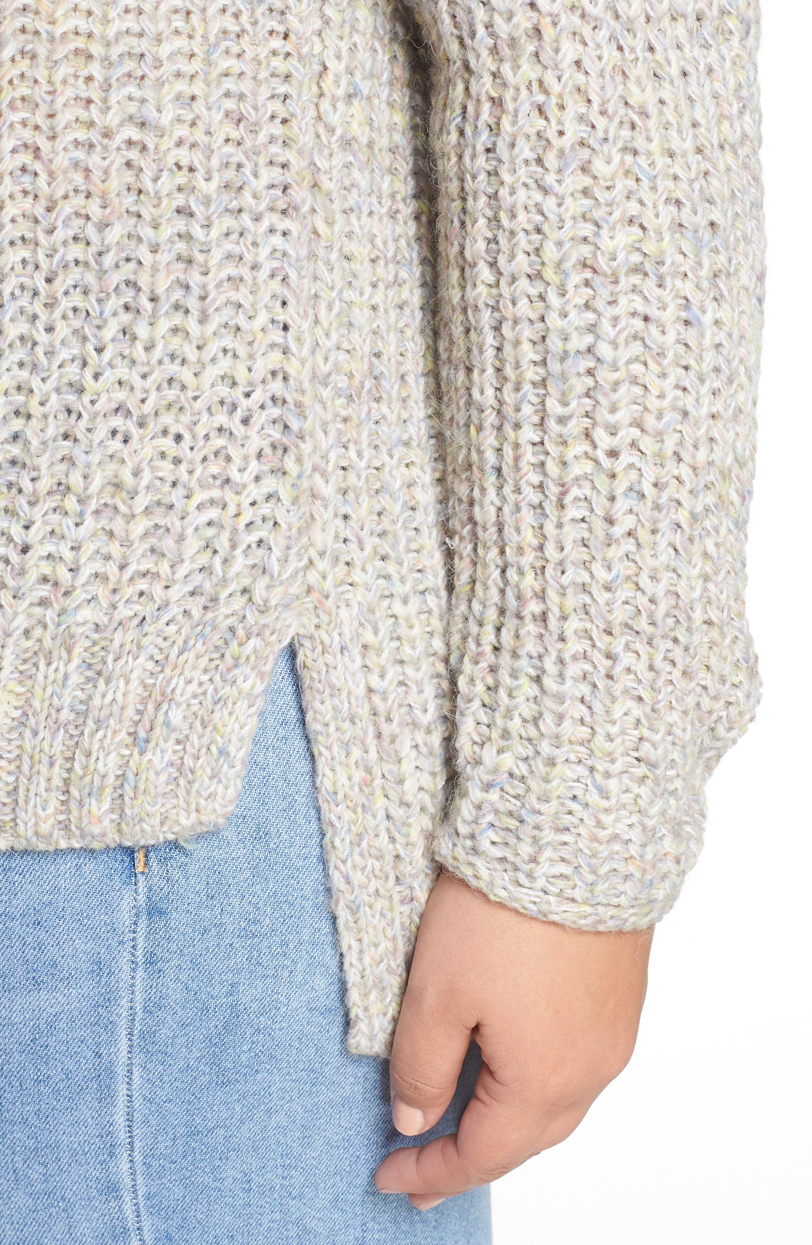 Boat Neck Sweater,                             Alternate thumbnail 4, color,                             BEIGE POPCORN PATTERN