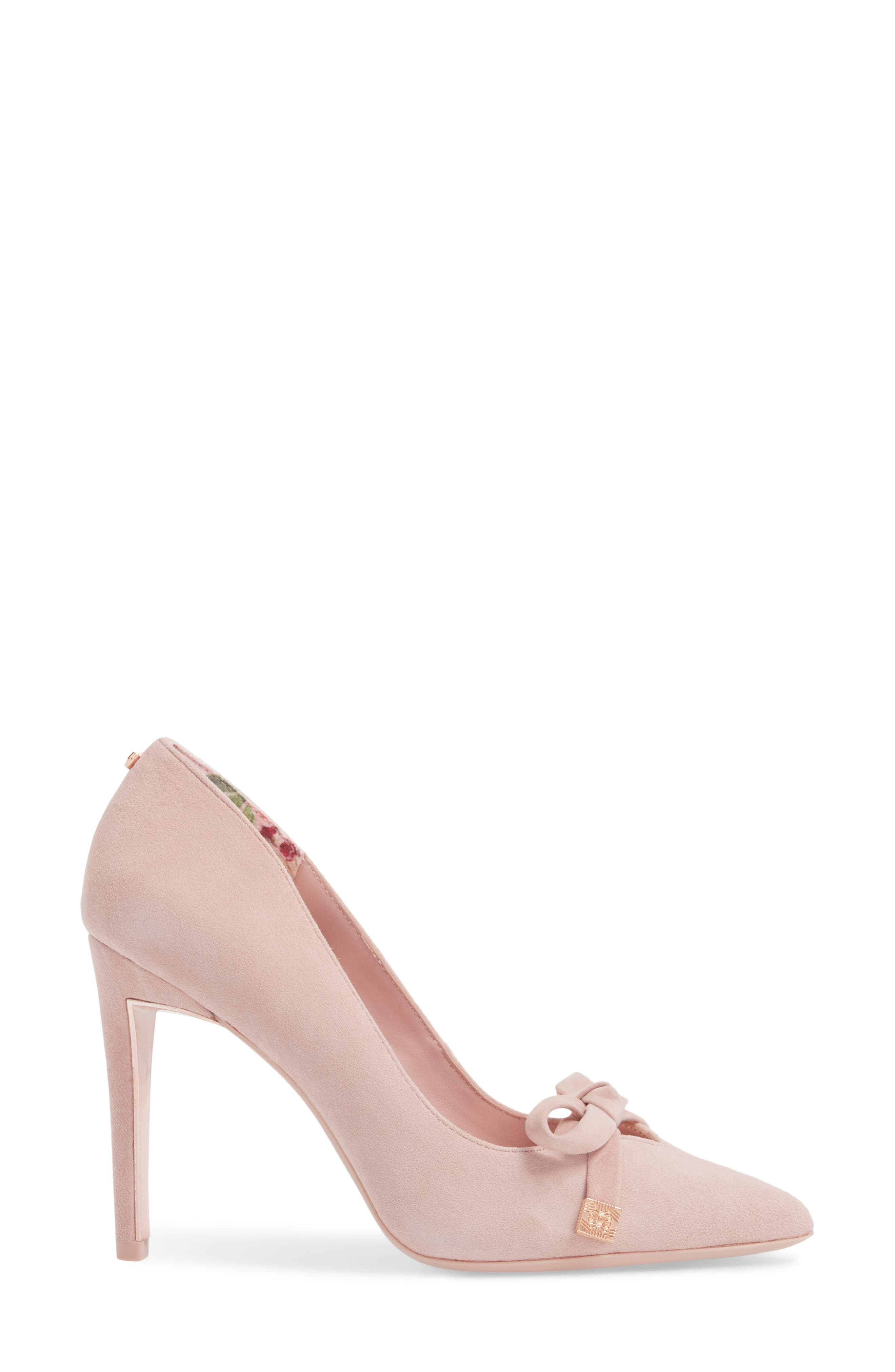Gewell Bow Pump,                             Alternate thumbnail 3, color,                             MINK PINK SUEDE