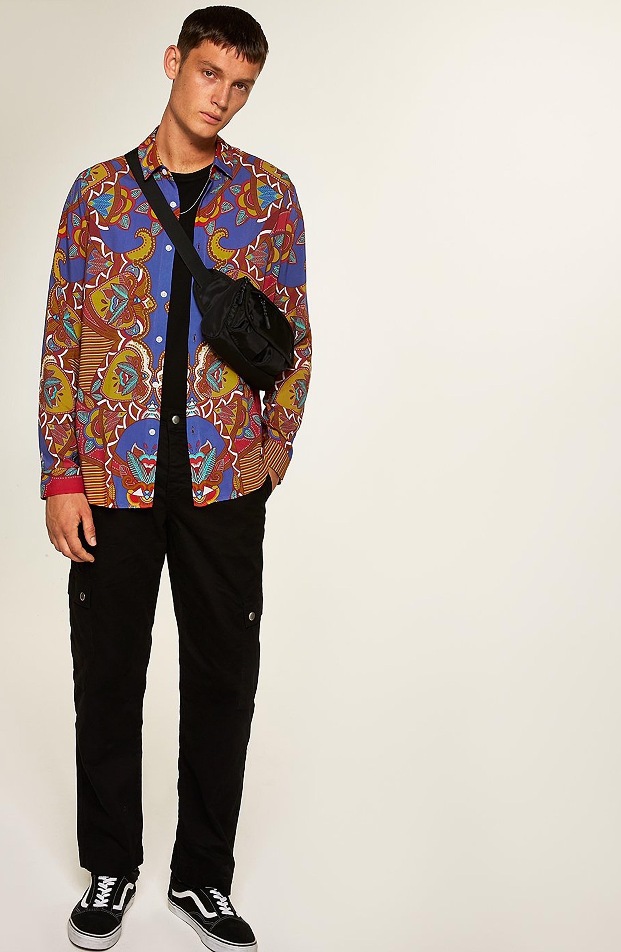 African Baroque Classic Fit Shirt,                             Alternate thumbnail 5, color,                             BLUE MULTI