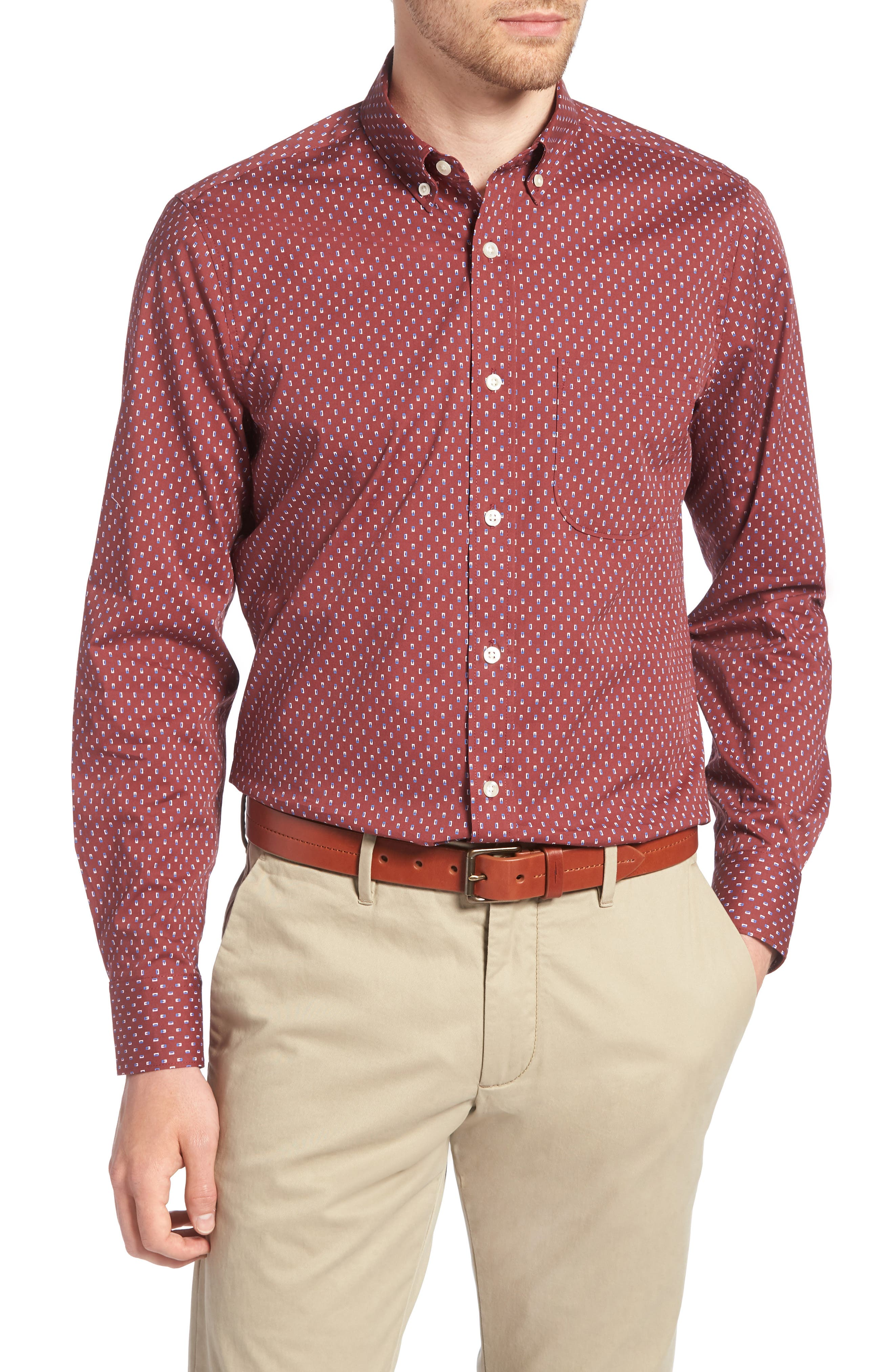 Trim Fit Box Print Sport Shirt,                         Main,                         color,